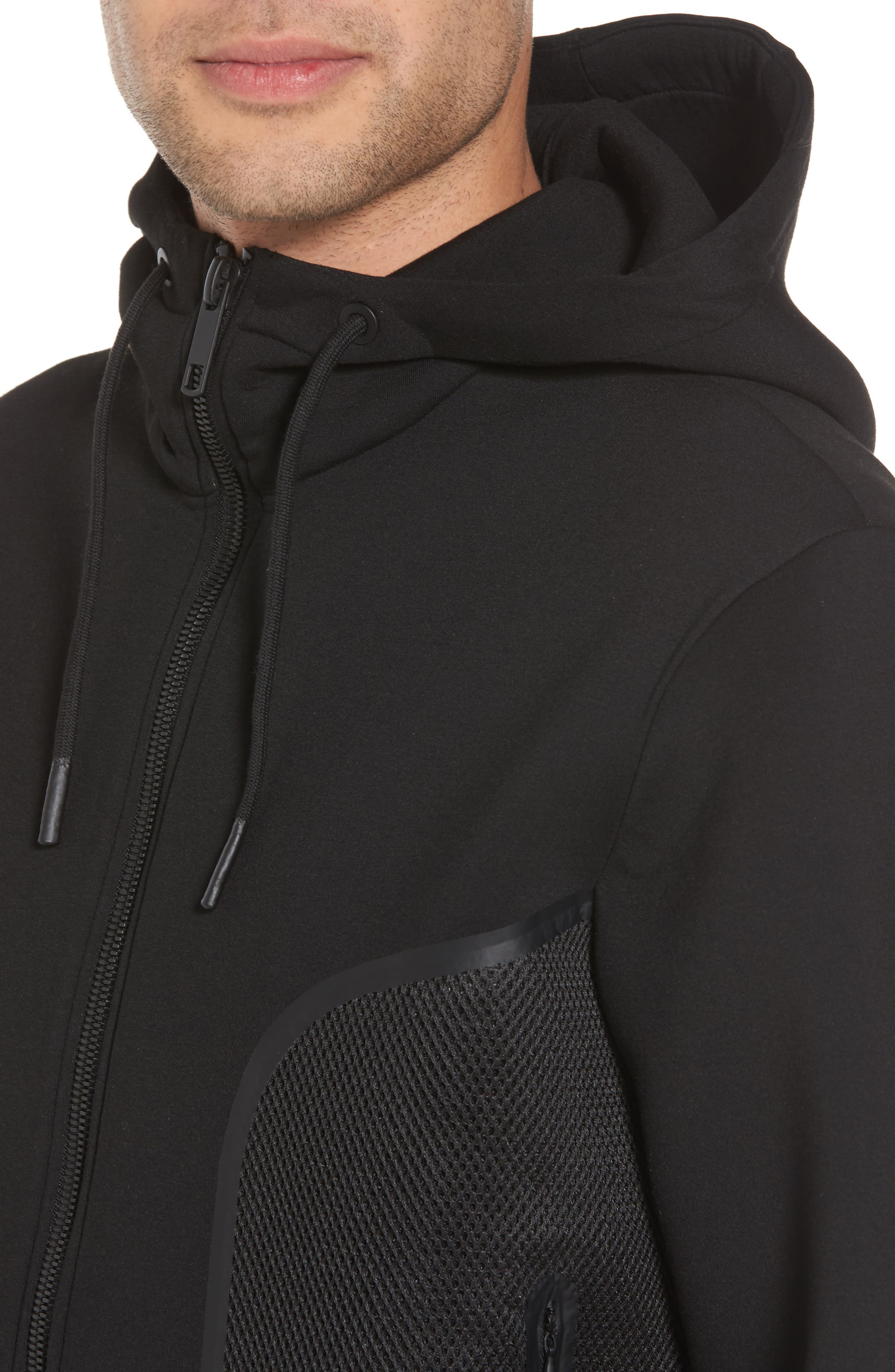 Hooded Fleece Jacket,                             Alternate thumbnail 4, color,                             Black