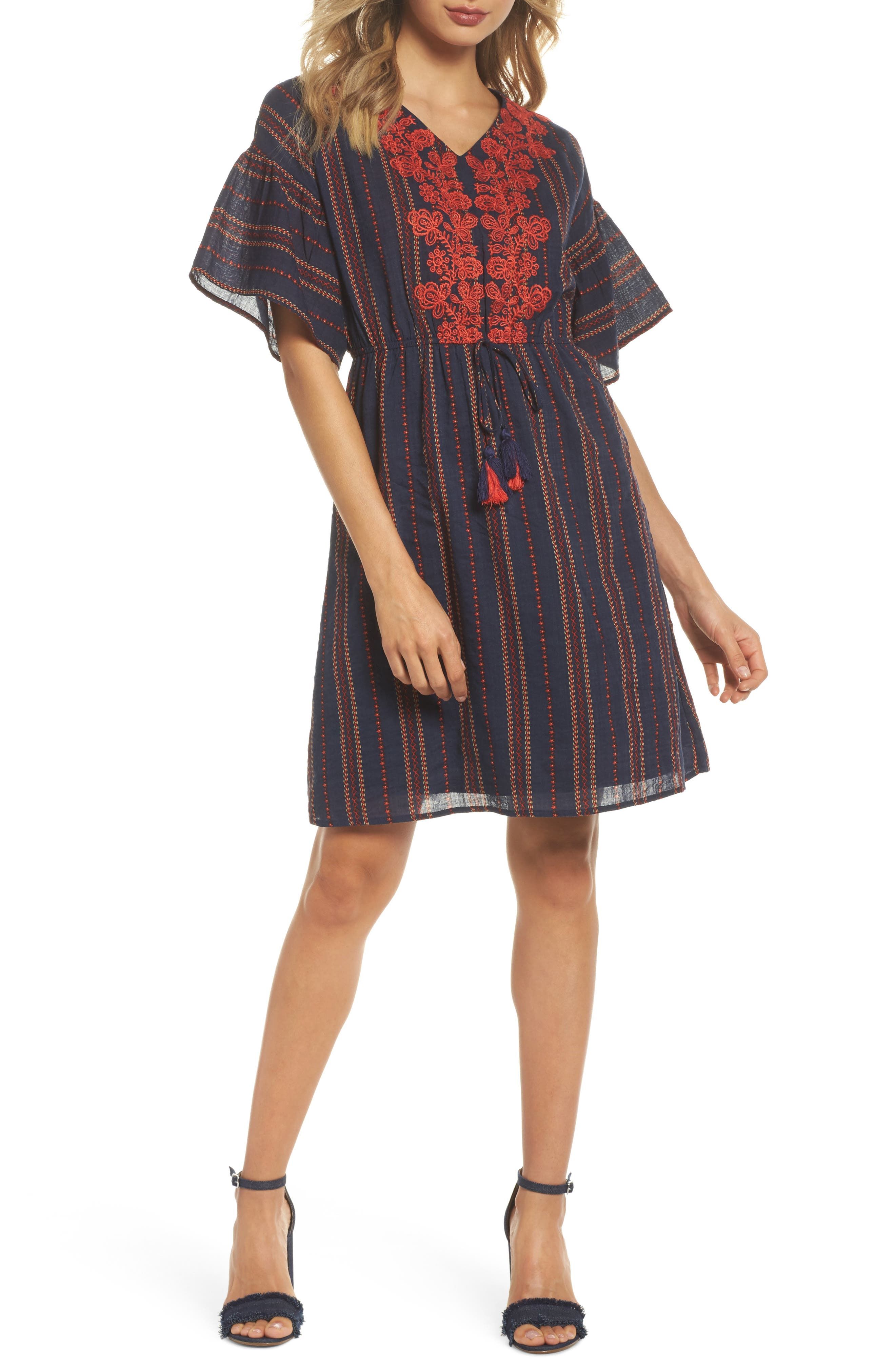 Embroidered A-Line Dress,                             Main thumbnail 1, color,                             Navy