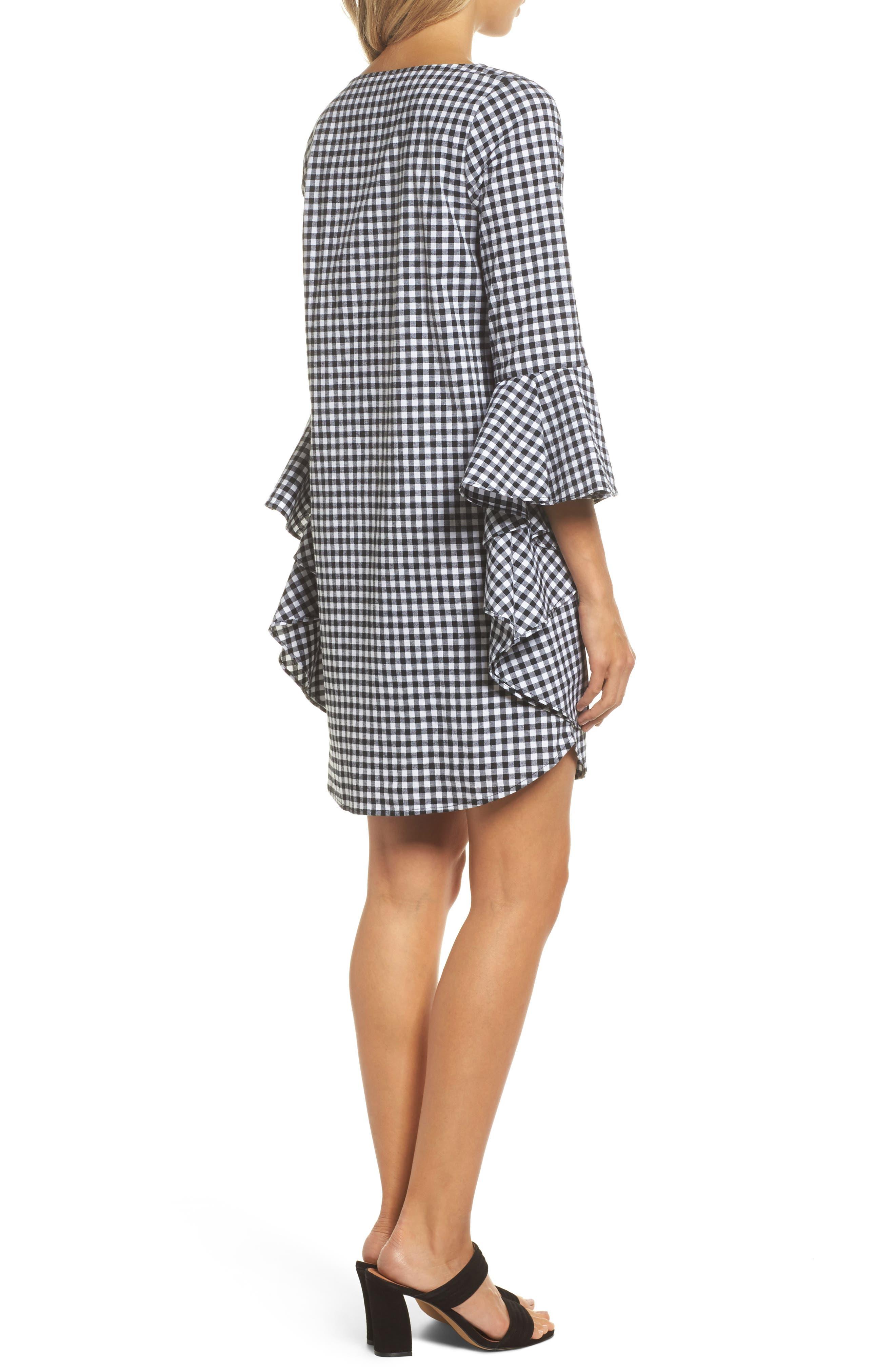 Ruffle Sleeve Gingham Shift Dress,                             Alternate thumbnail 2, color,                             Black/ White Gingham