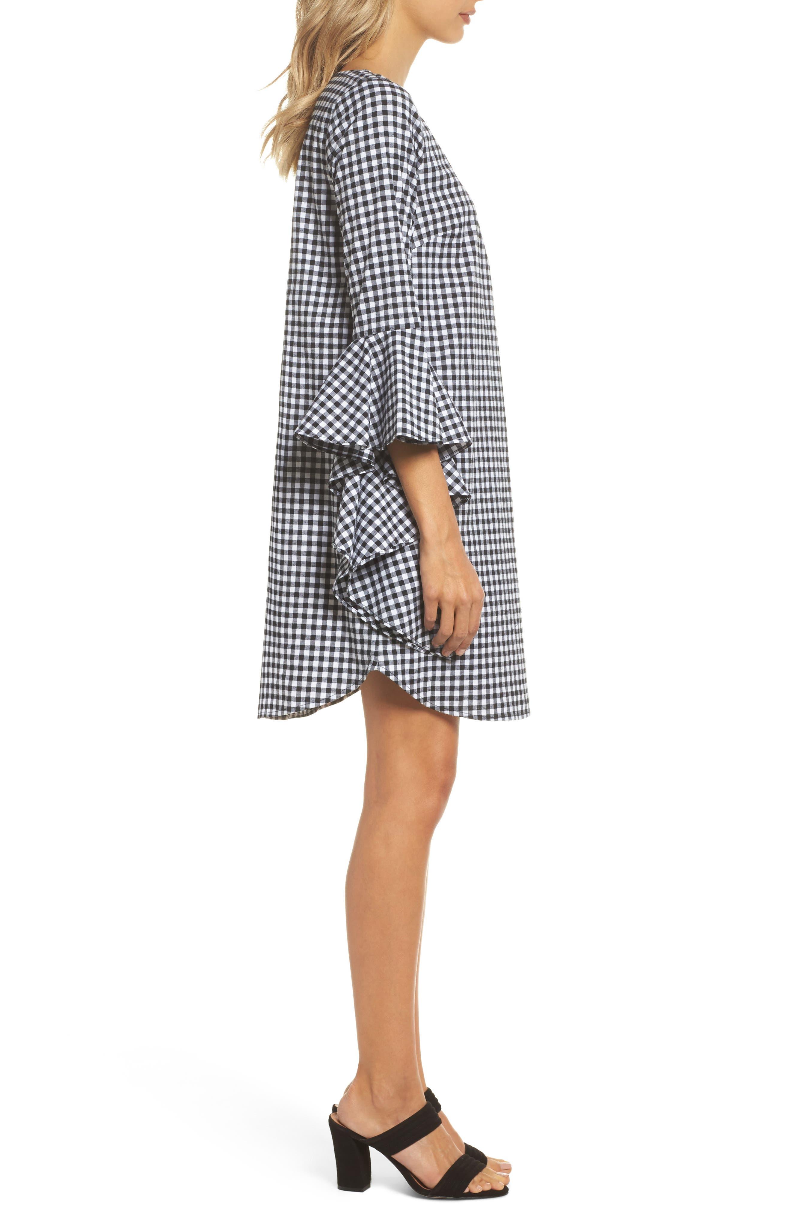 Ruffle Sleeve Gingham Shift Dress,                             Alternate thumbnail 3, color,                             Black/ White Gingham