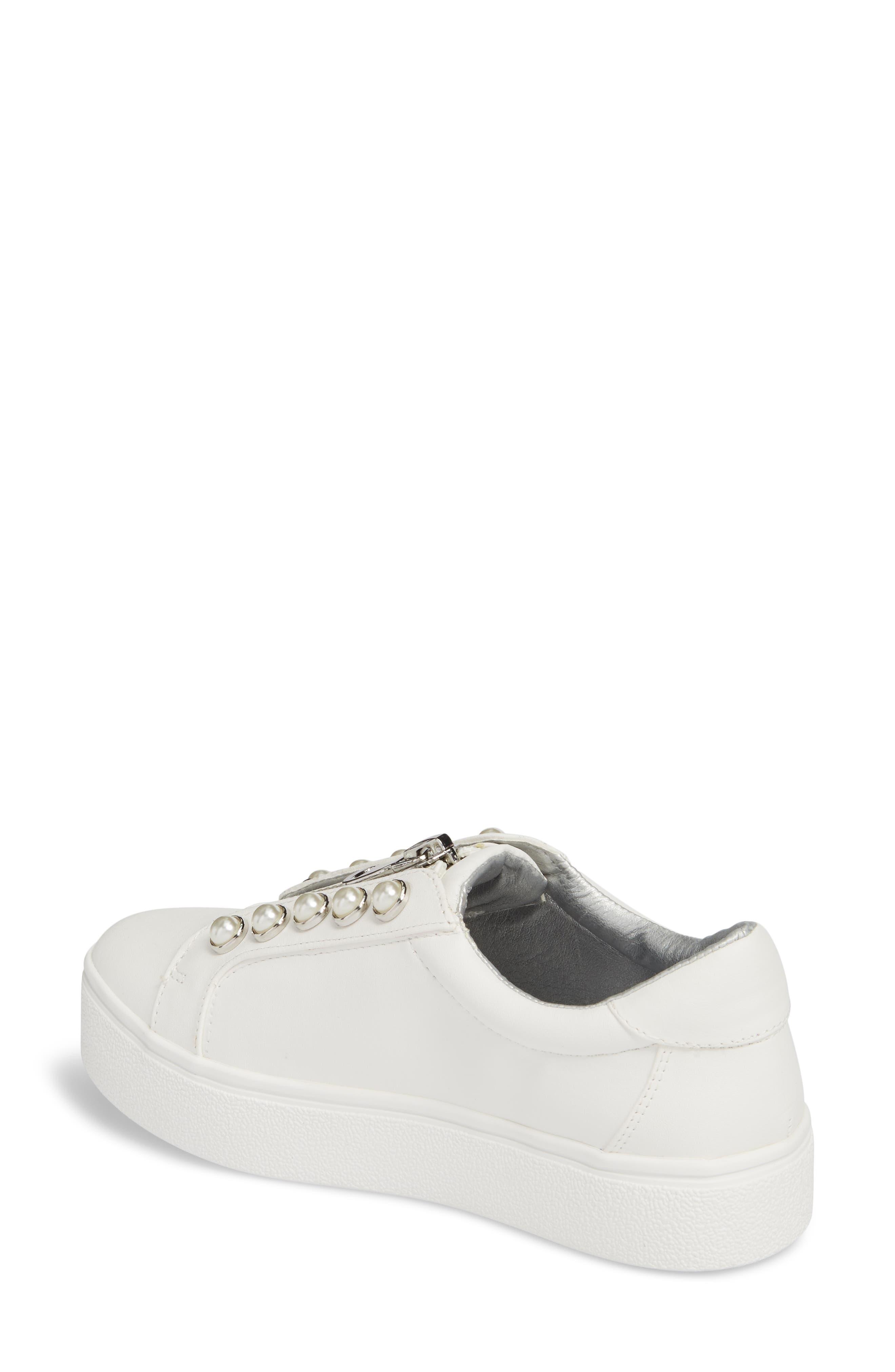 Lynn Embellished Platform Sneaker,                             Alternate thumbnail 2, color,                             White Faux Leather