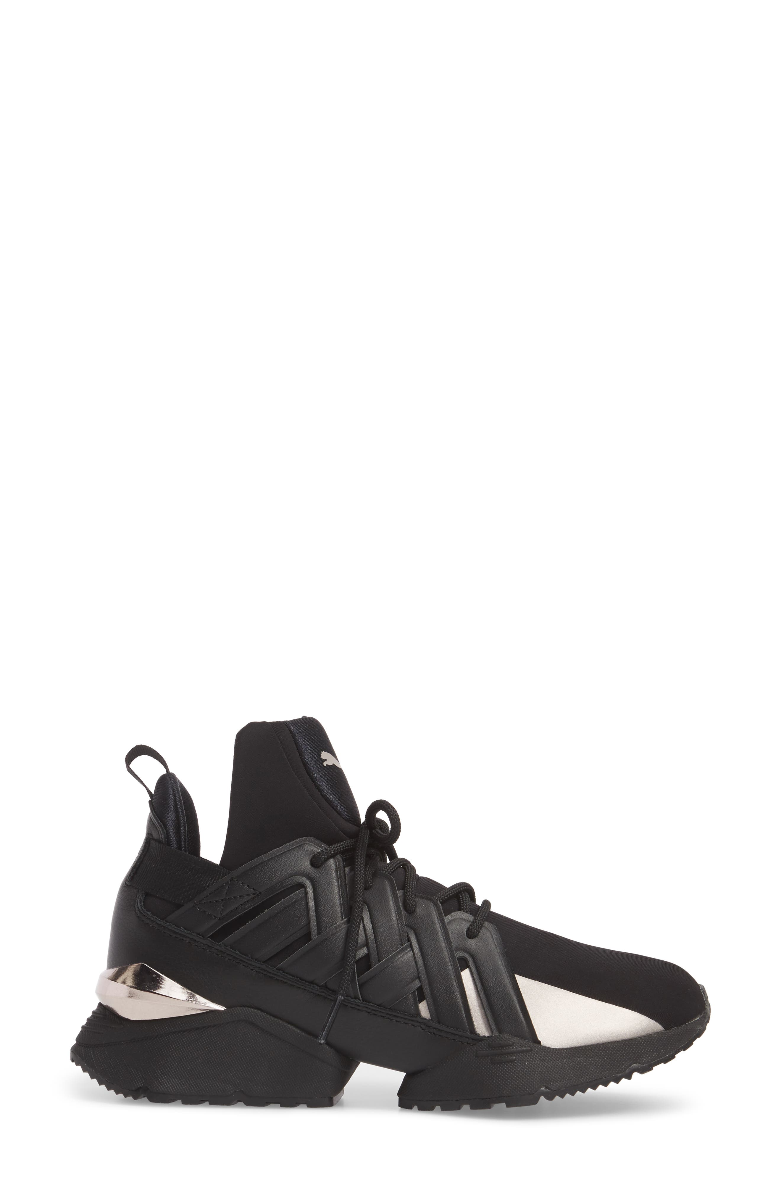 Muse Echo Sneaker,                             Alternate thumbnail 3, color,                             Puma Black