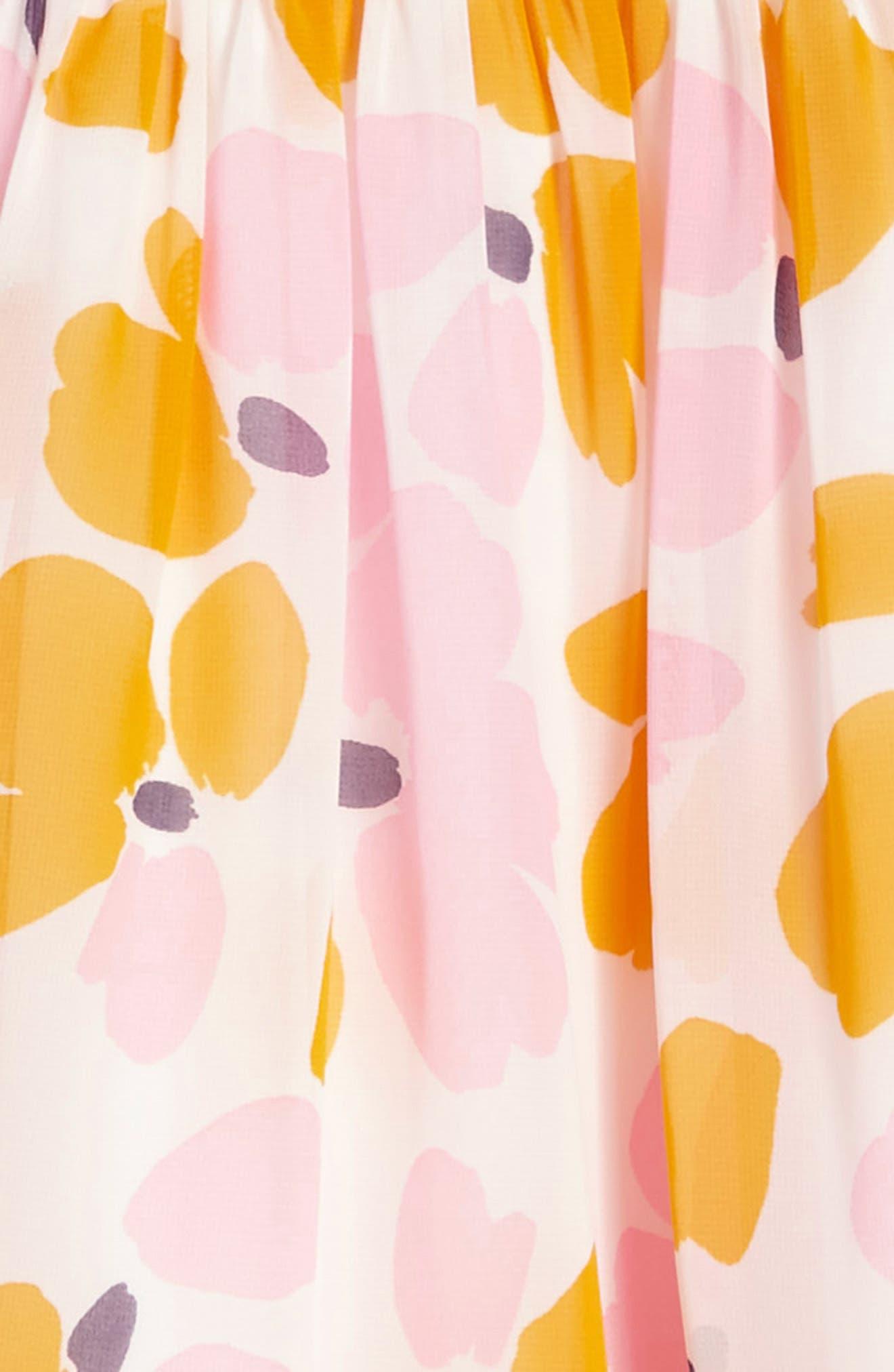 ruffle hem dress,                             Alternate thumbnail 3, color,                             Paint Daub Floral