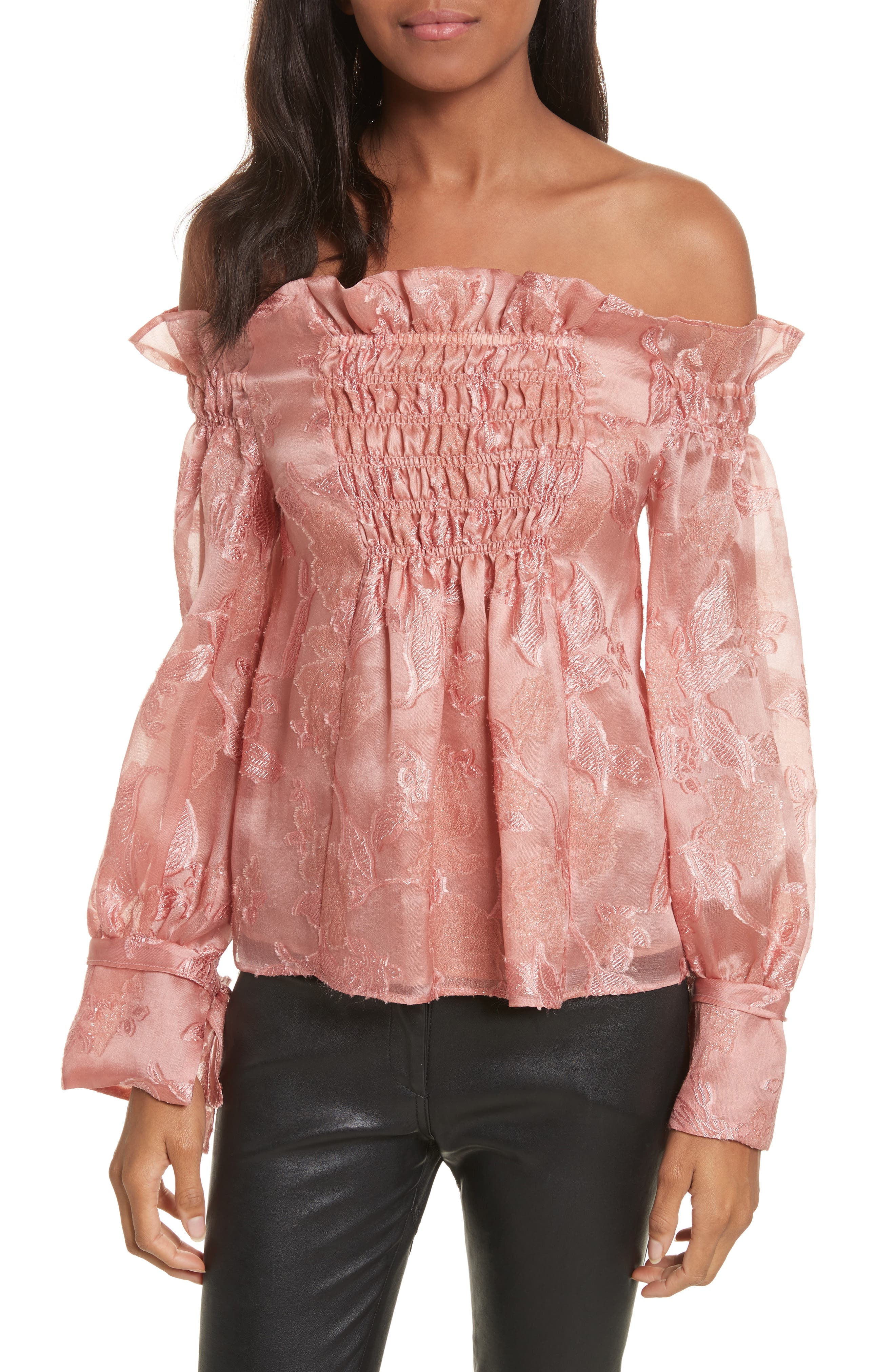 Off the Shouler Metallic Floral Organza Blouse,                         Main,                         color, Rosey Nude