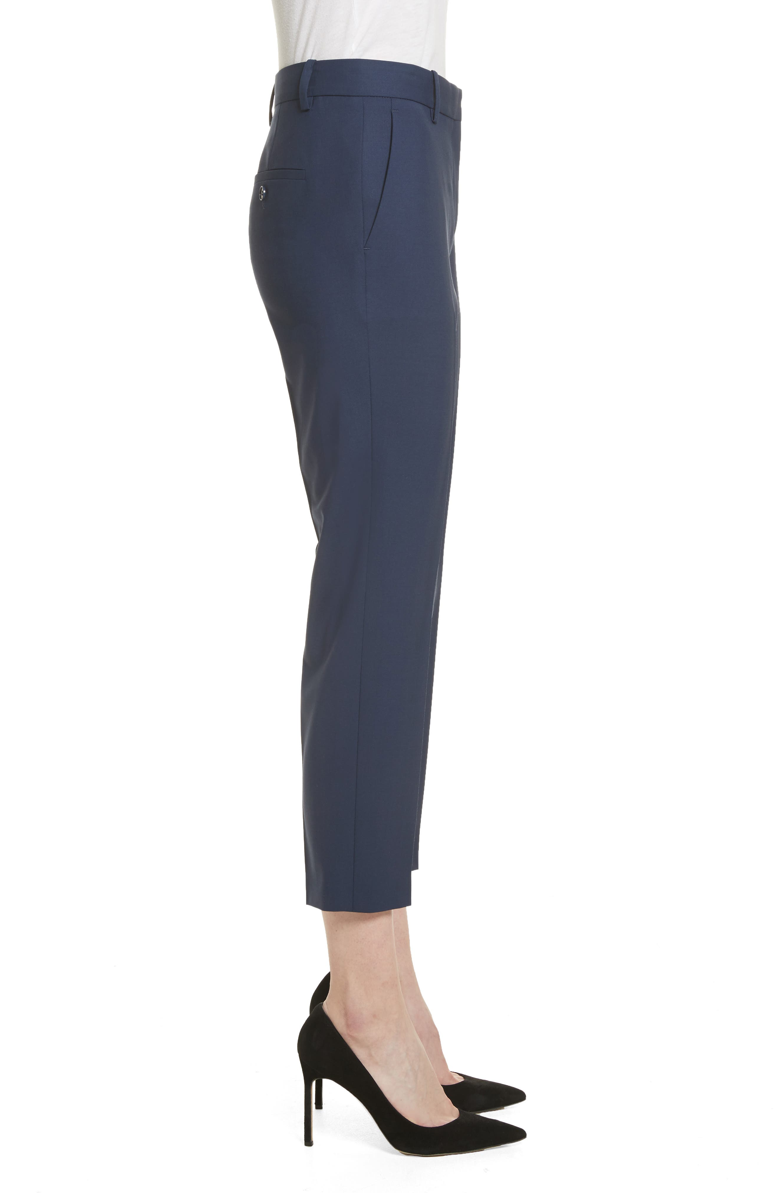 Treeca 2 Good Wool Crop Suit Pants,                             Alternate thumbnail 3, color,                             Sea Blue