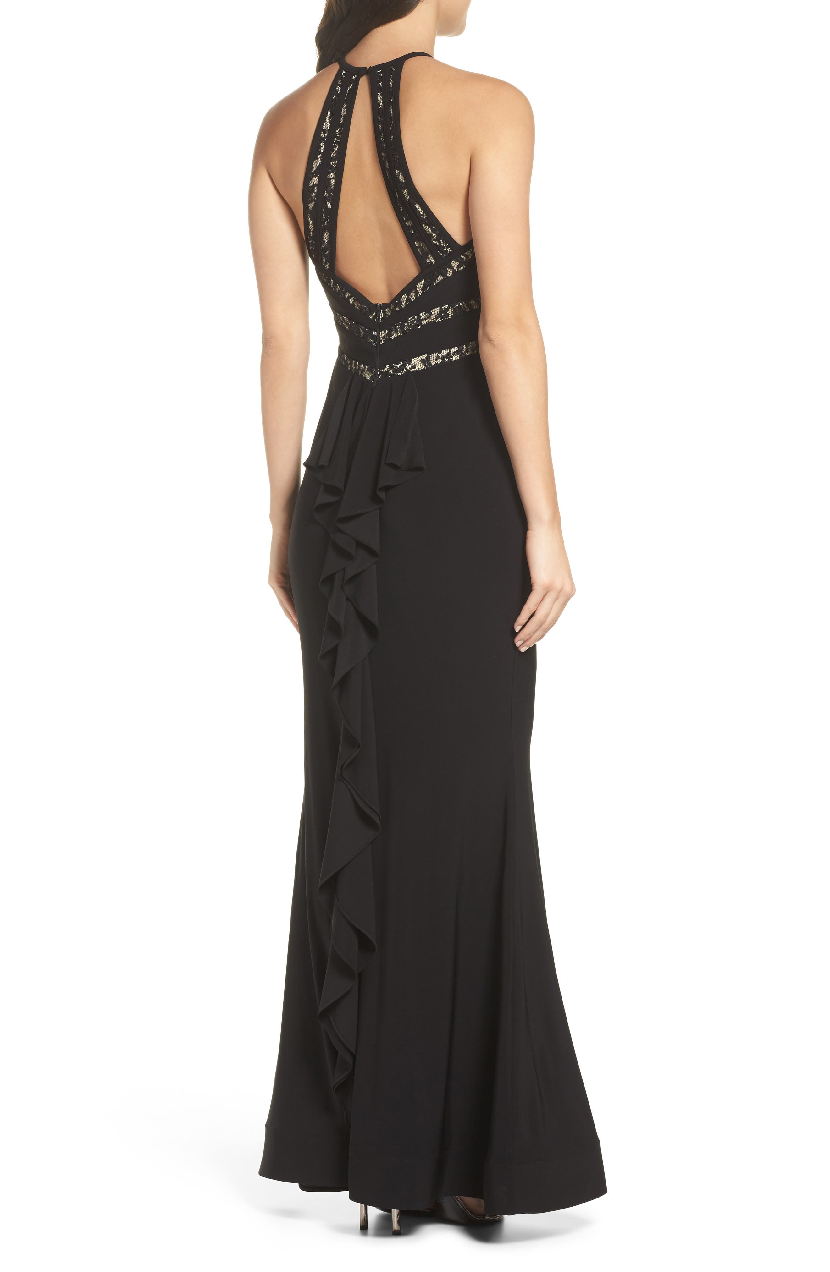 Ruffle Back Halter Gown,                             Alternate thumbnail 2, color,                             Black/ Nude