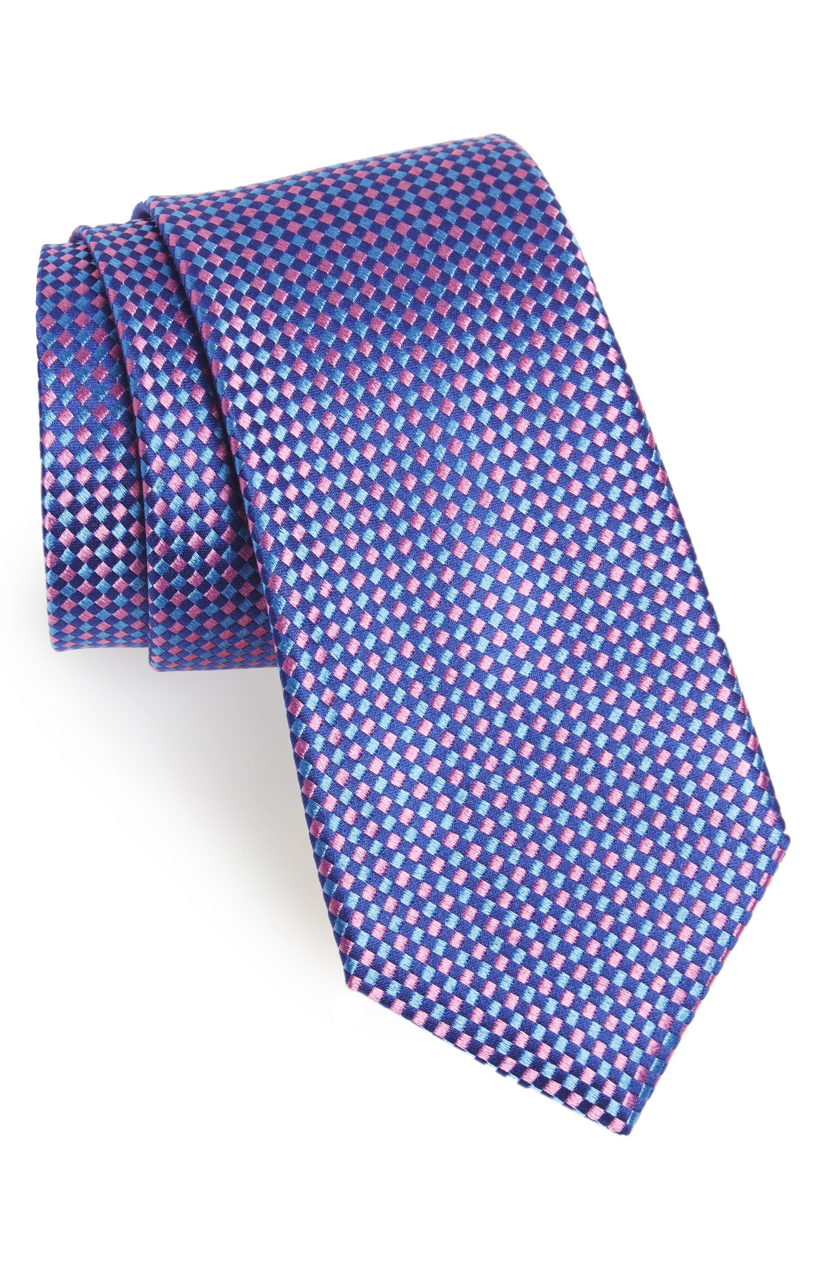 Check Silk Tie,                             Main thumbnail 1, color,                             Kentucky Blue