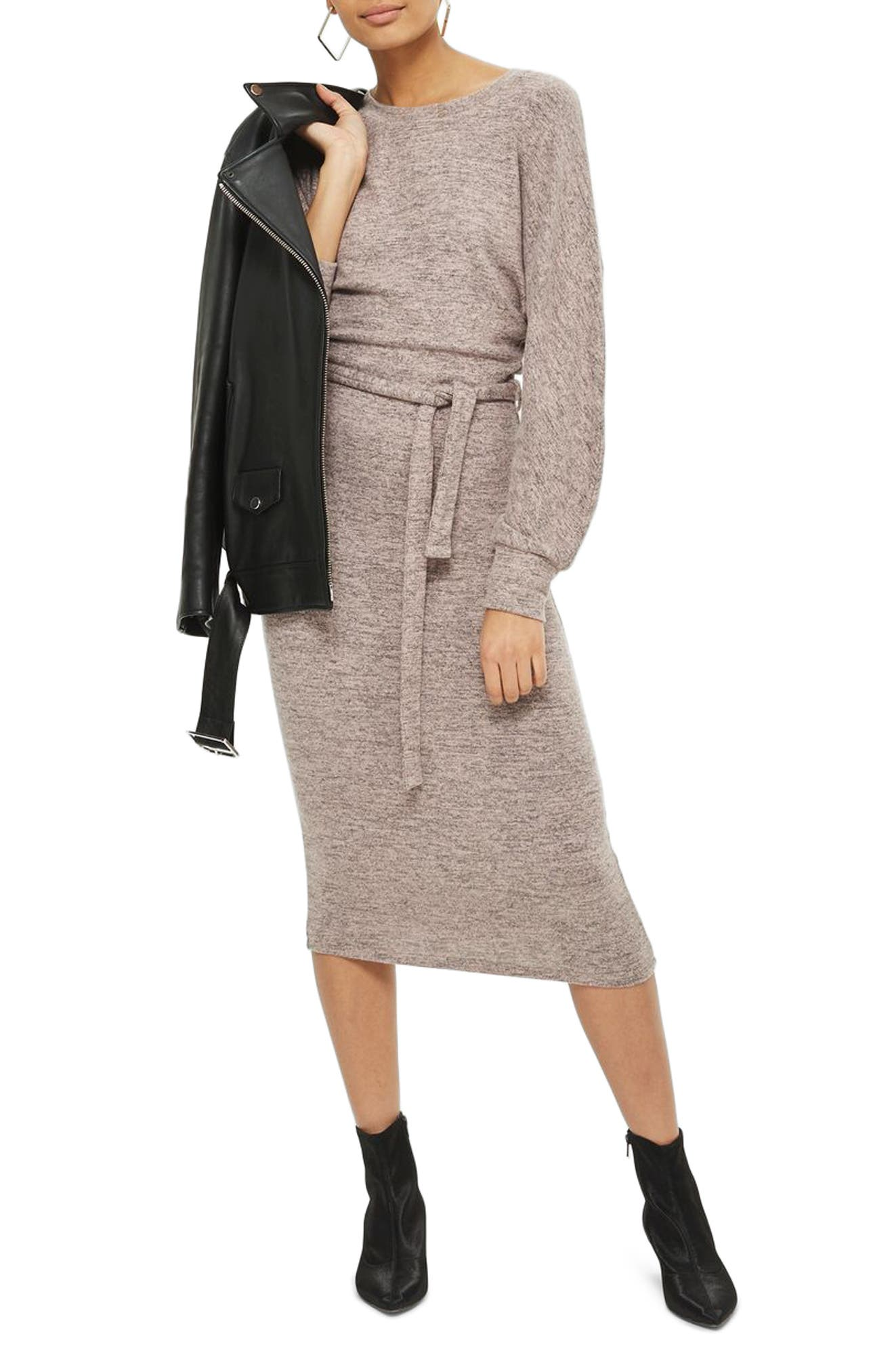 Cut and Sew Sweater Dress,                         Main,                         color, Pink