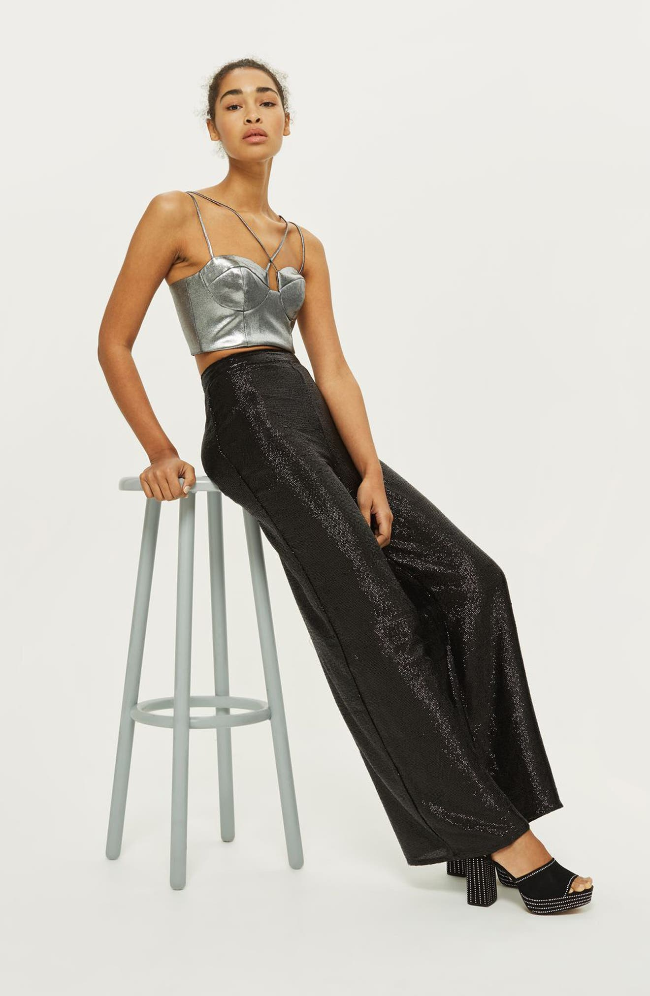 Premium Sequin Wide Leg Trousers,                             Alternate thumbnail 2, color,                             Black