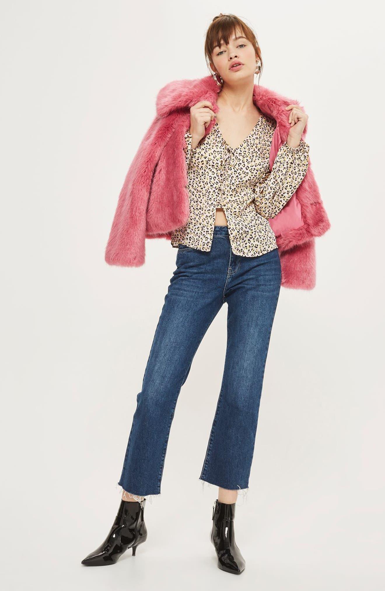 Leopard Print Tie Front Blouse,                             Alternate thumbnail 2, color,                             Pink Multi