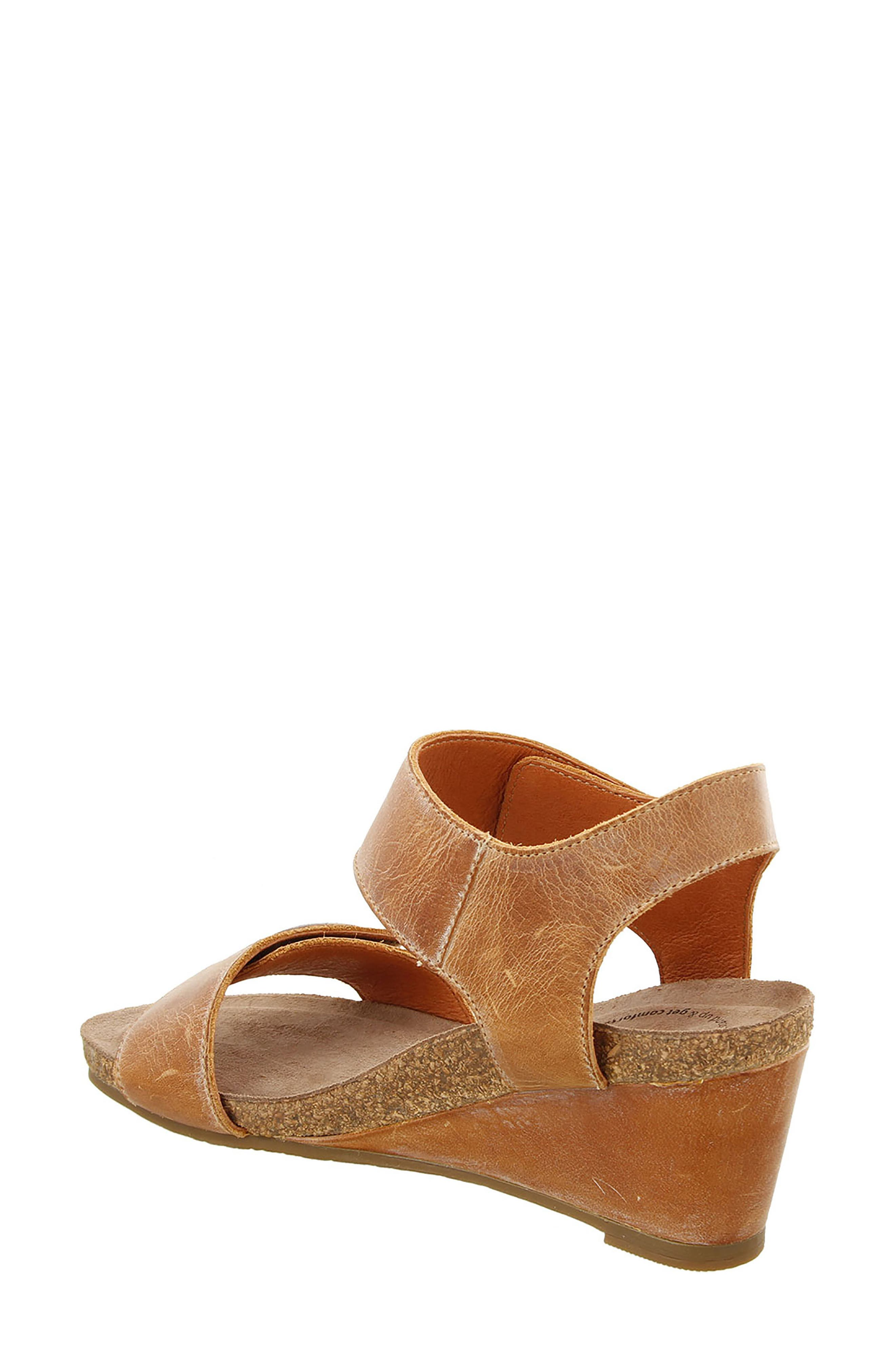 'Carousel 2' Wedge Sandal,                             Alternate thumbnail 2, color,                             Camel Suede