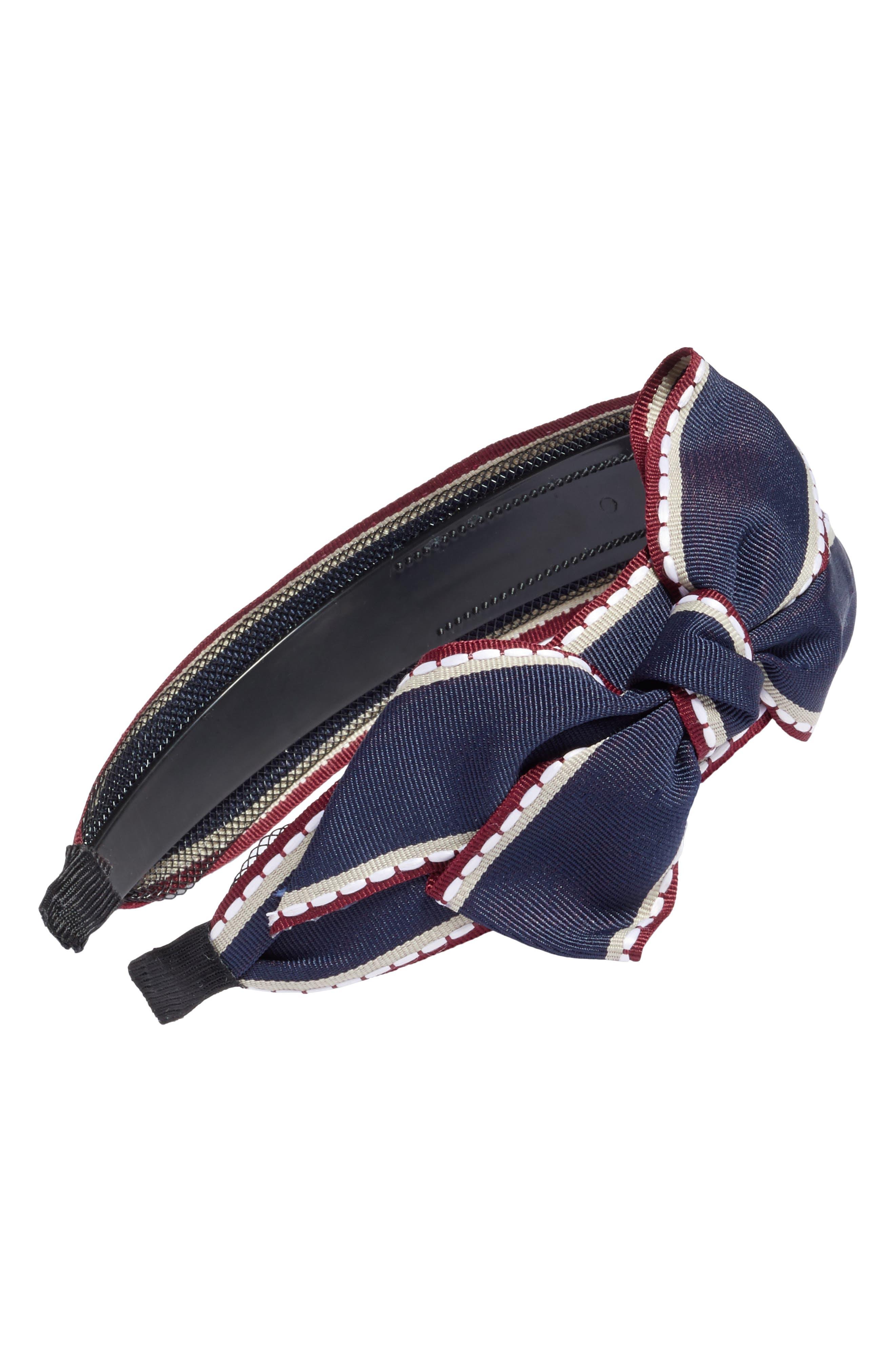 Big Bow Stripe Headband,                             Main thumbnail 1, color,                             Navy/ White