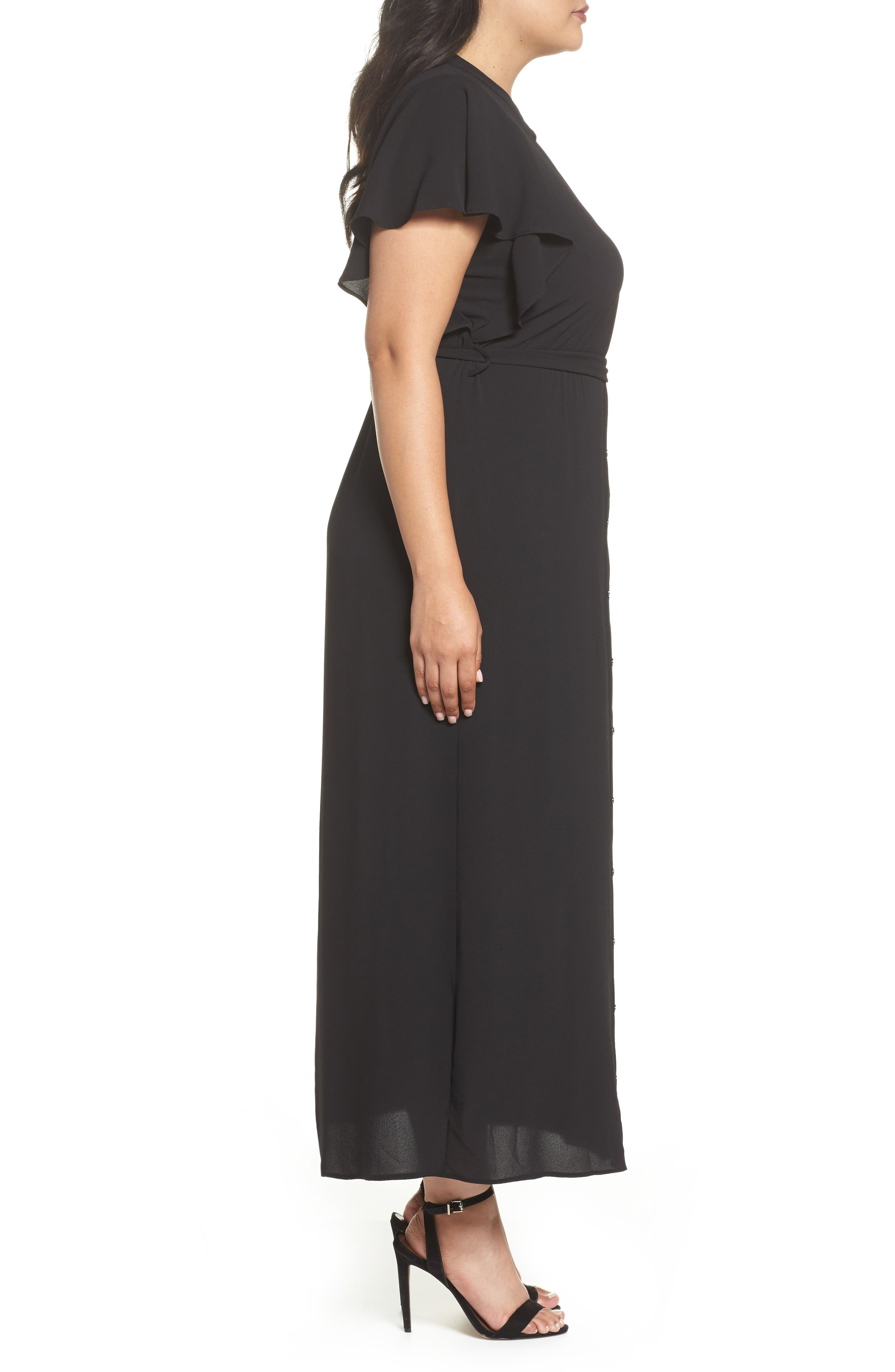Alternate Image 3  - Evans Ruffled Maxi Shirtdress (Plus Size)