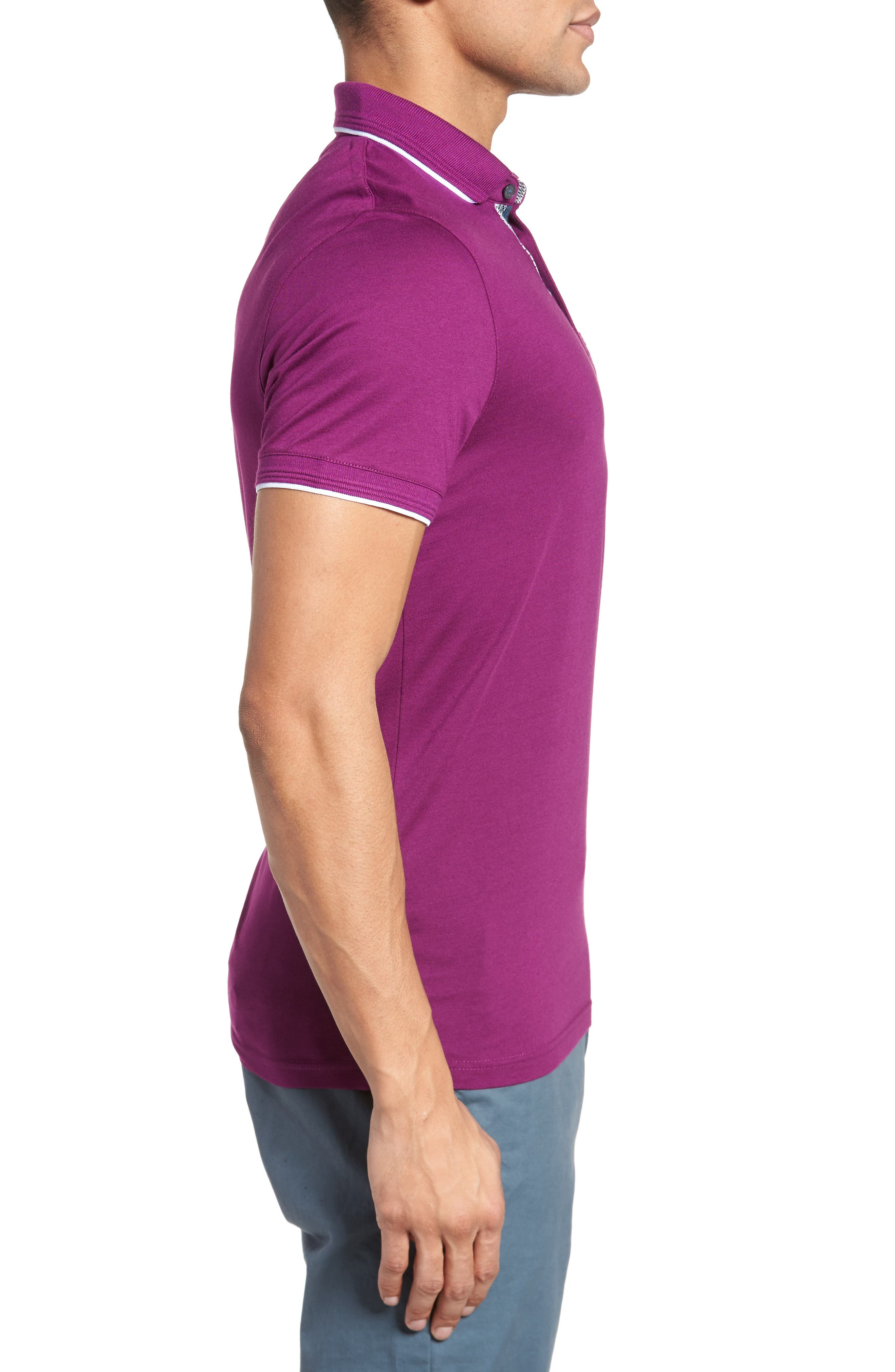 Derry Modern Slim Fit Polo,                             Alternate thumbnail 3, color,                             Deep Purple