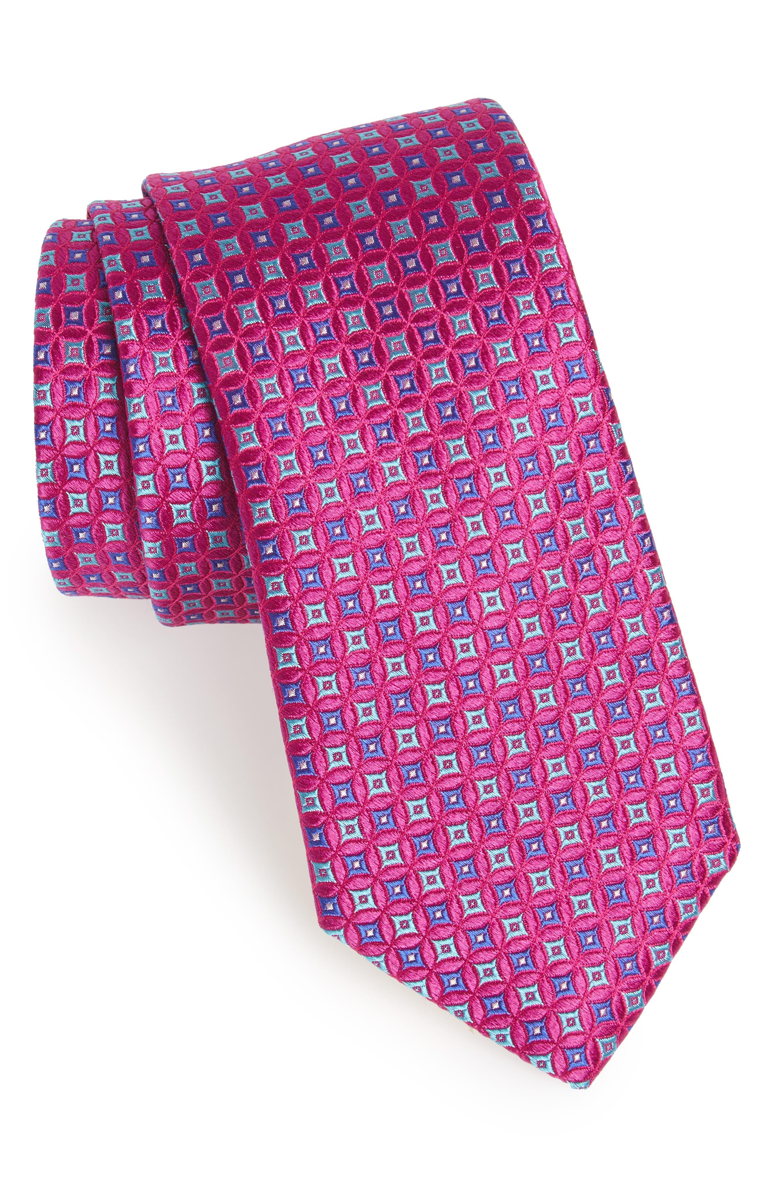 Geometric Silk Tie,                         Main,                         color, Orchid