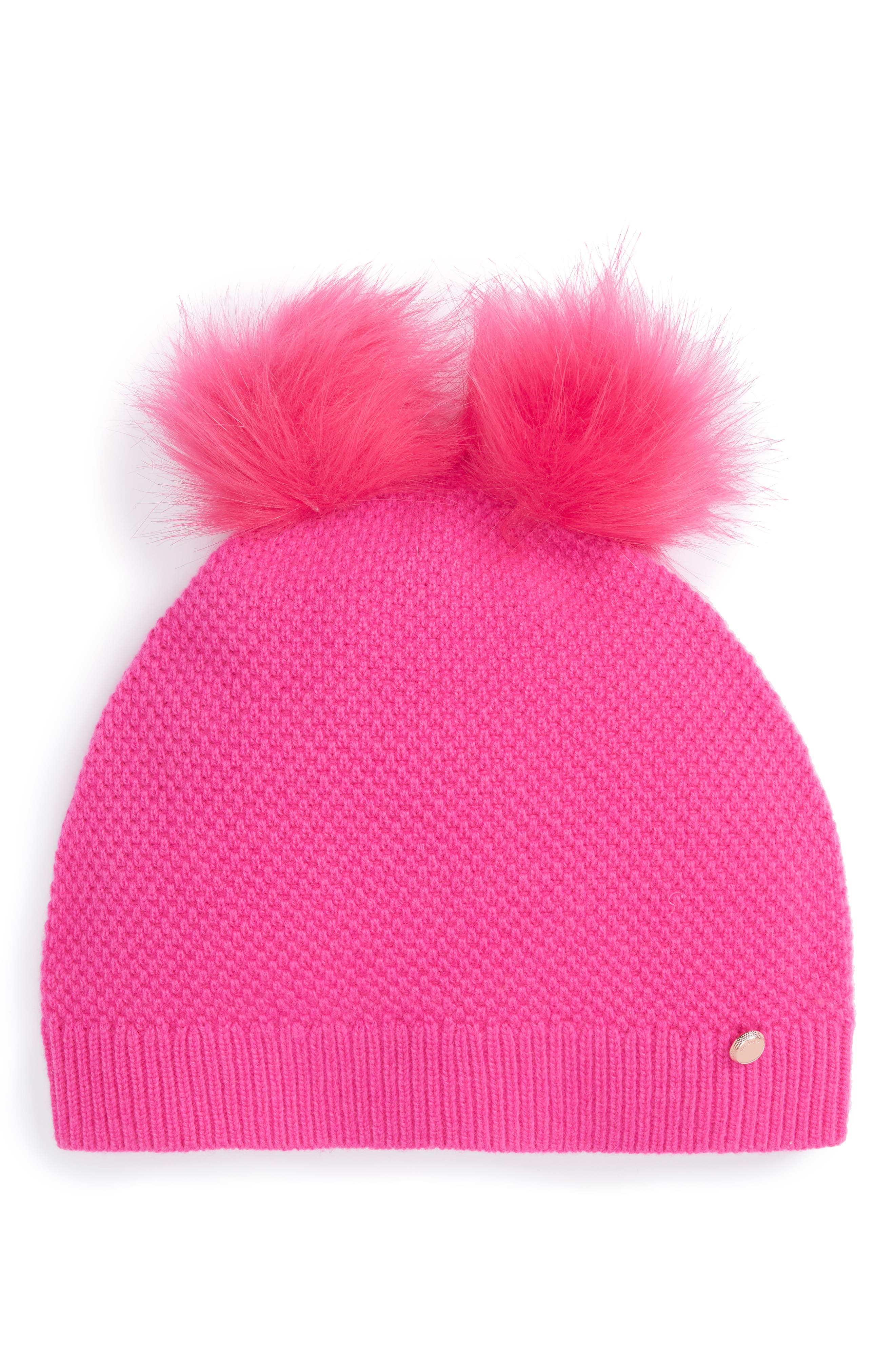Double Faux Fur Pom Beanie,                         Main,                         color, Bright Pink