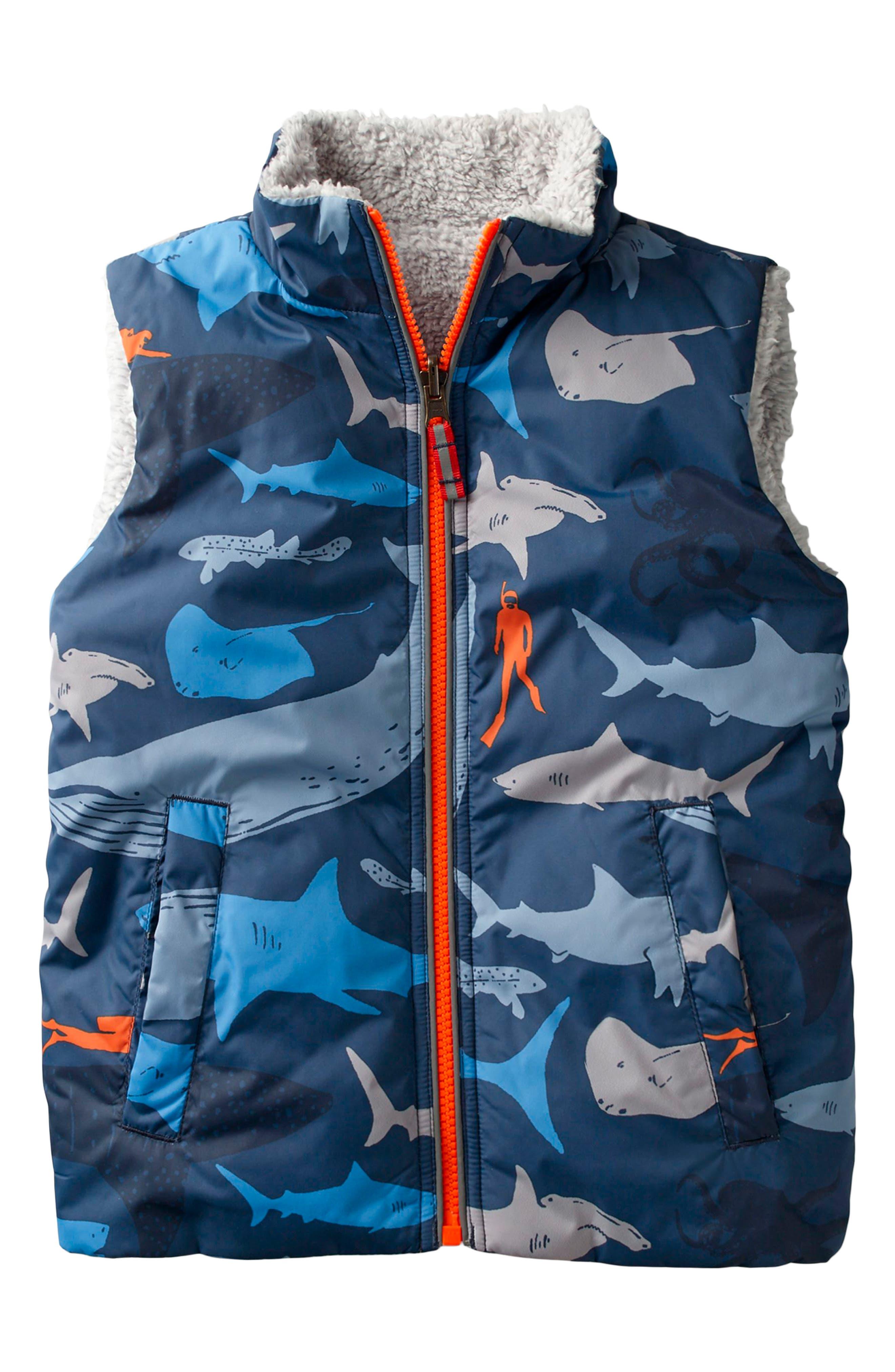 Reversible Vest,                             Main thumbnail 1, color,                             Beacon Blue Shark Dive