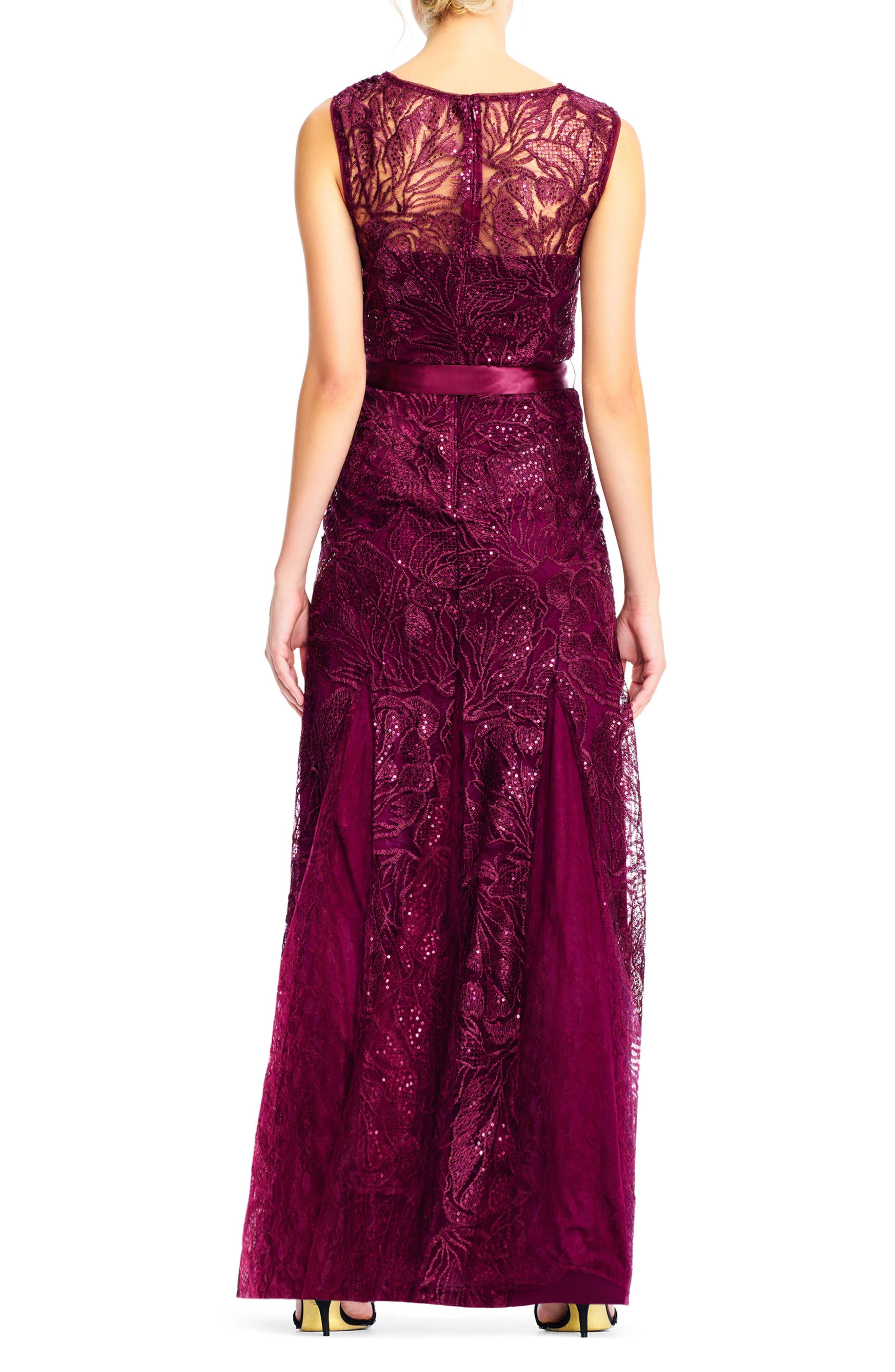 Tie Waist Sequin Lace Gown,                             Alternate thumbnail 2, color,                             Cabernet