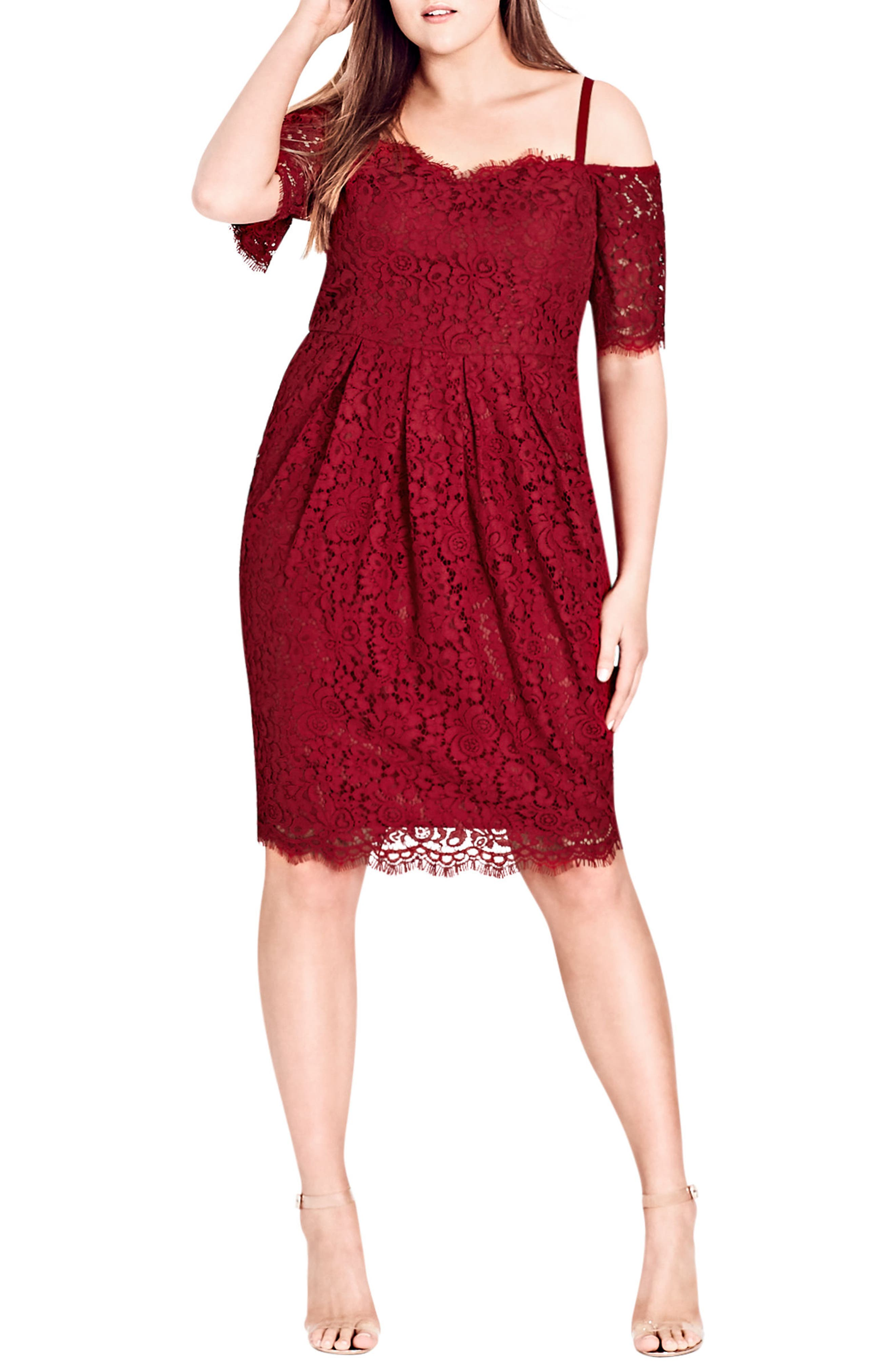Alternate Image 1 Selected - City Chic Amour Off the Shoulder Lace Sheath Dress (Plus Size)