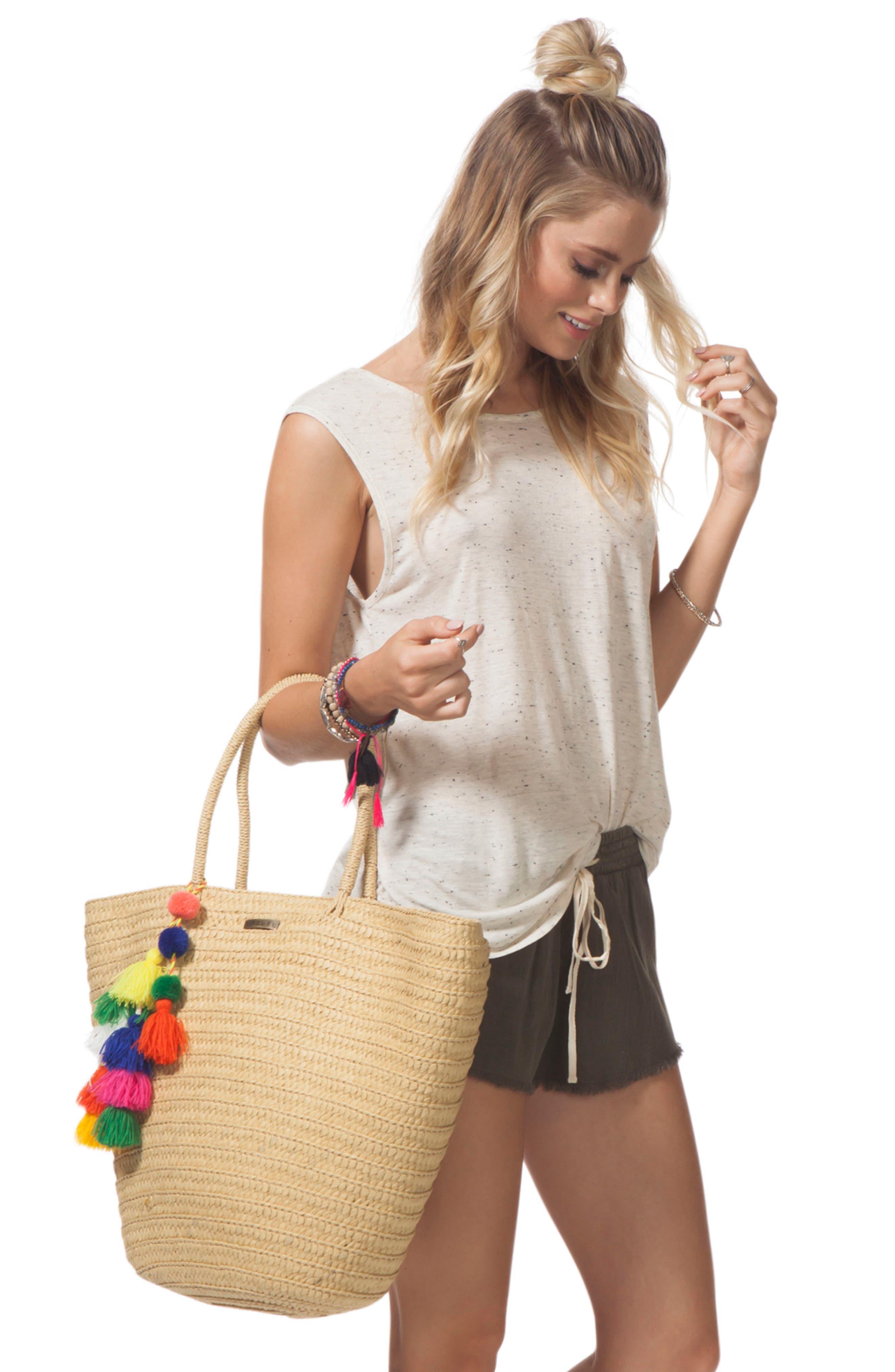 Beach Bazaar Straw Bag,                             Alternate thumbnail 3, color,                             Natural
