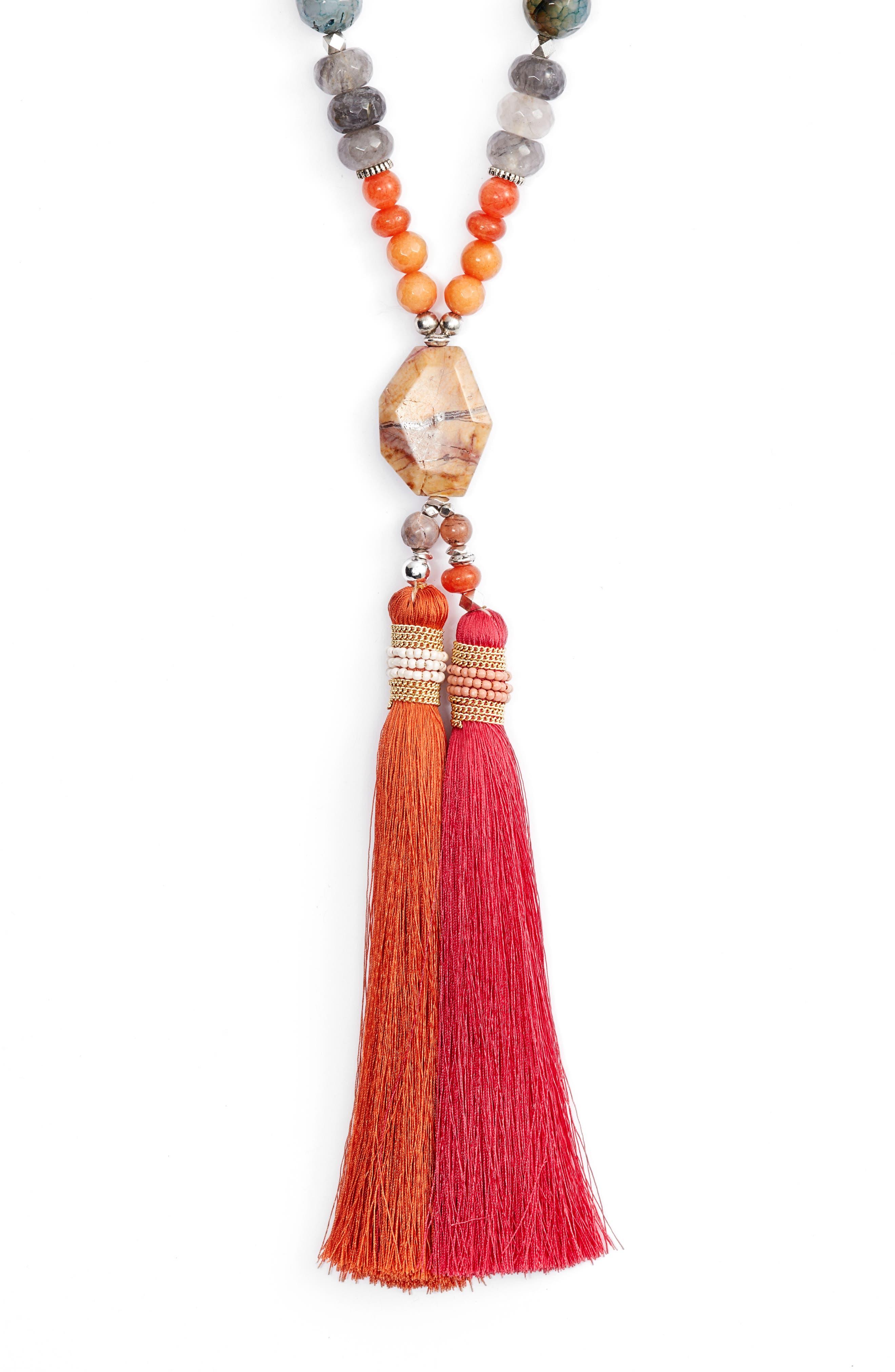 Long Tassel Jasper Pendant Necklace,                             Alternate thumbnail 2, color,                             Orange