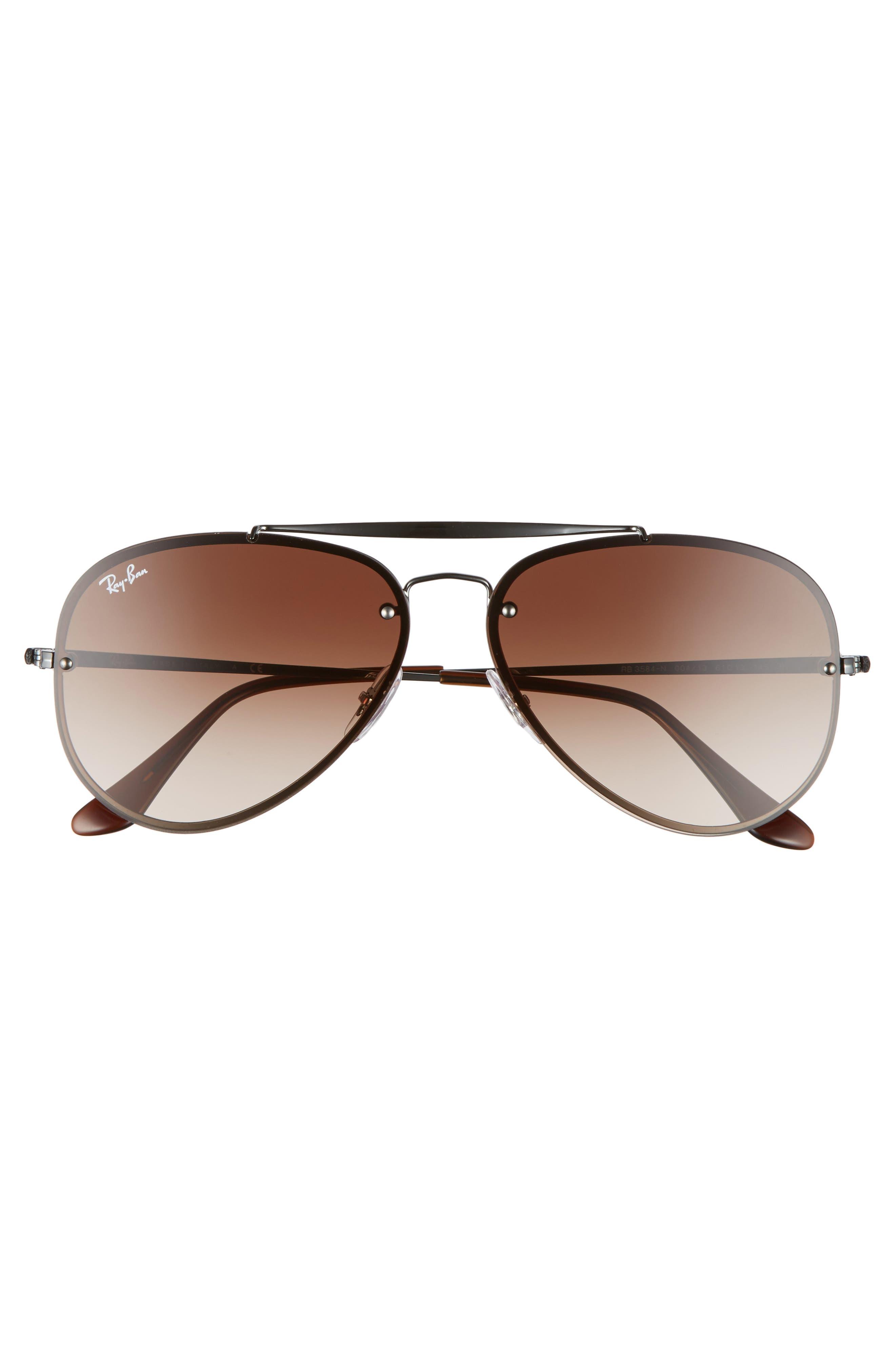 Blaze 61mm Aviator Sunglasses,                             Alternate thumbnail 2, color,                             Gunmetal/ Brown
