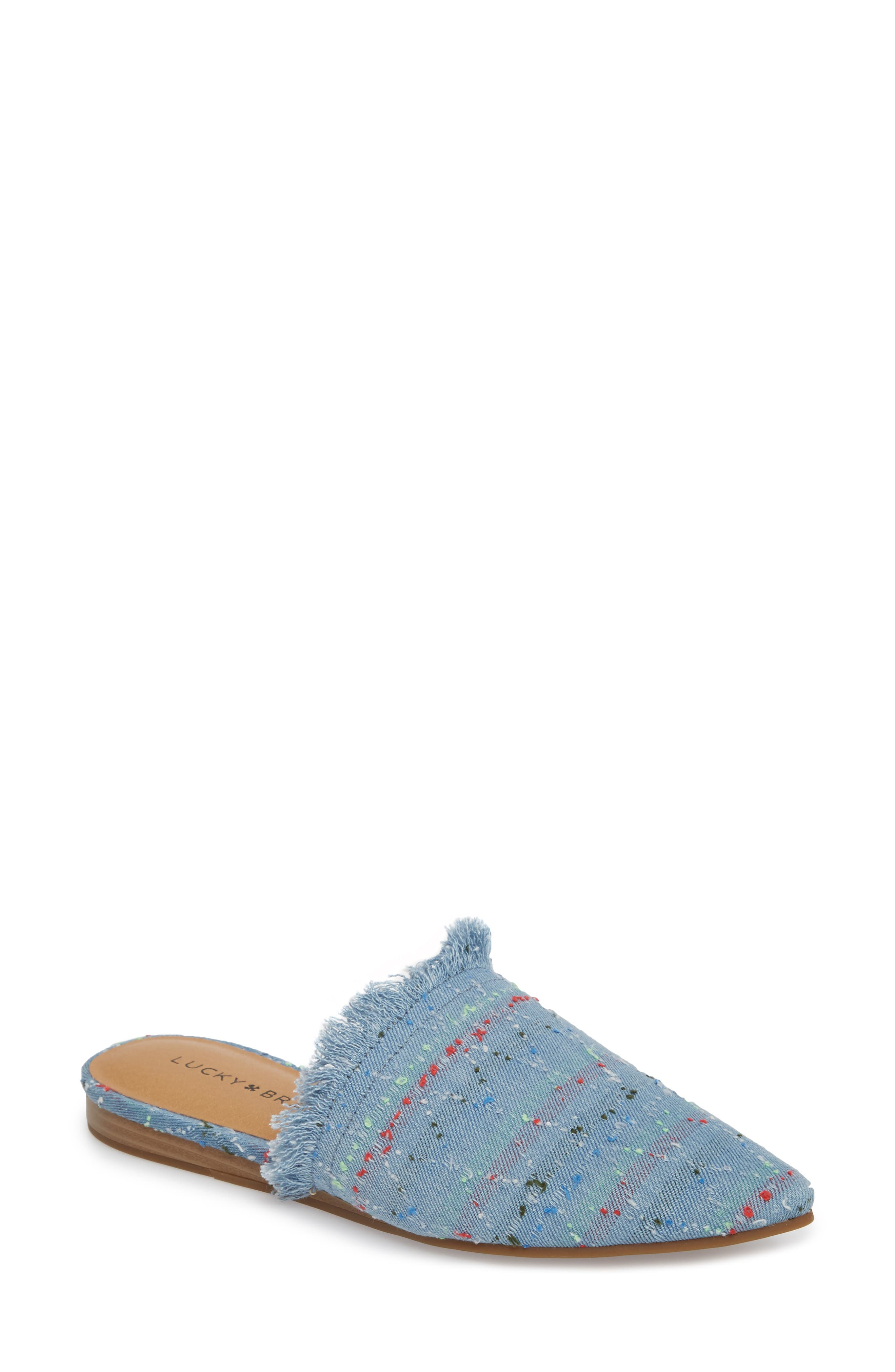 Bapsee Mule,                         Main,                         color, Light Denim Leather