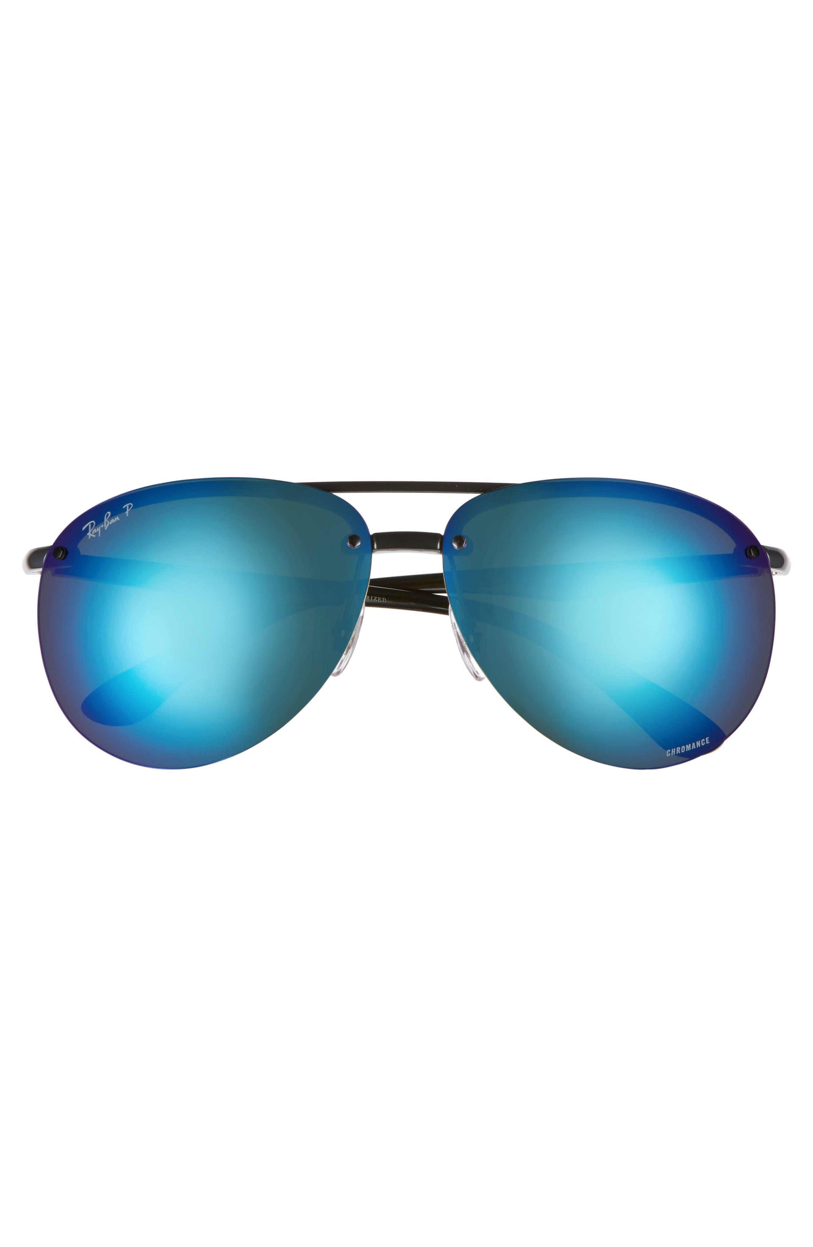 65mm Chromance Polarized Aviator Sunglasses,                             Alternate thumbnail 2, color,                             Black
