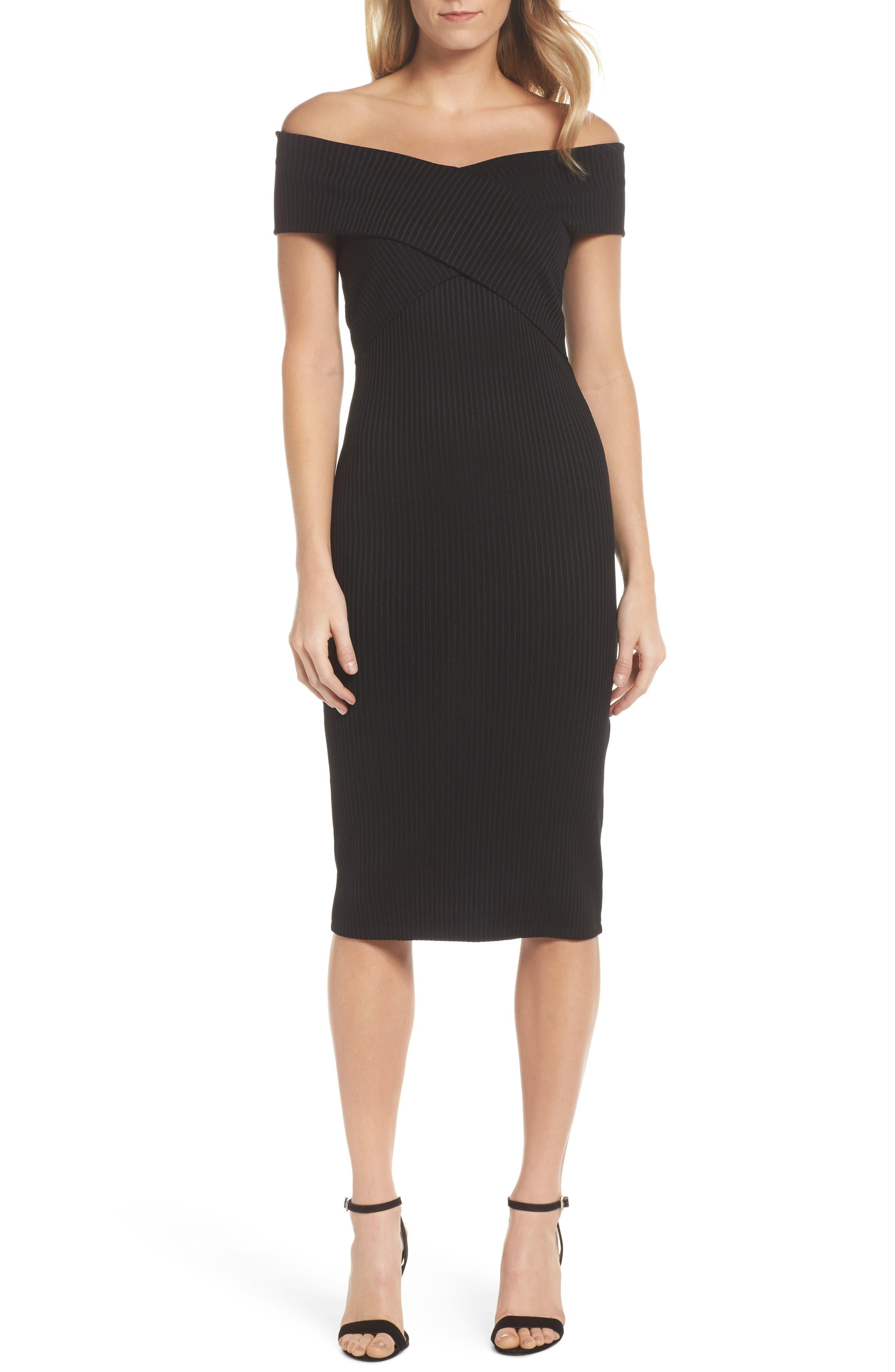 Off the Shoulder Midi Dress,                         Main,                         color, Black