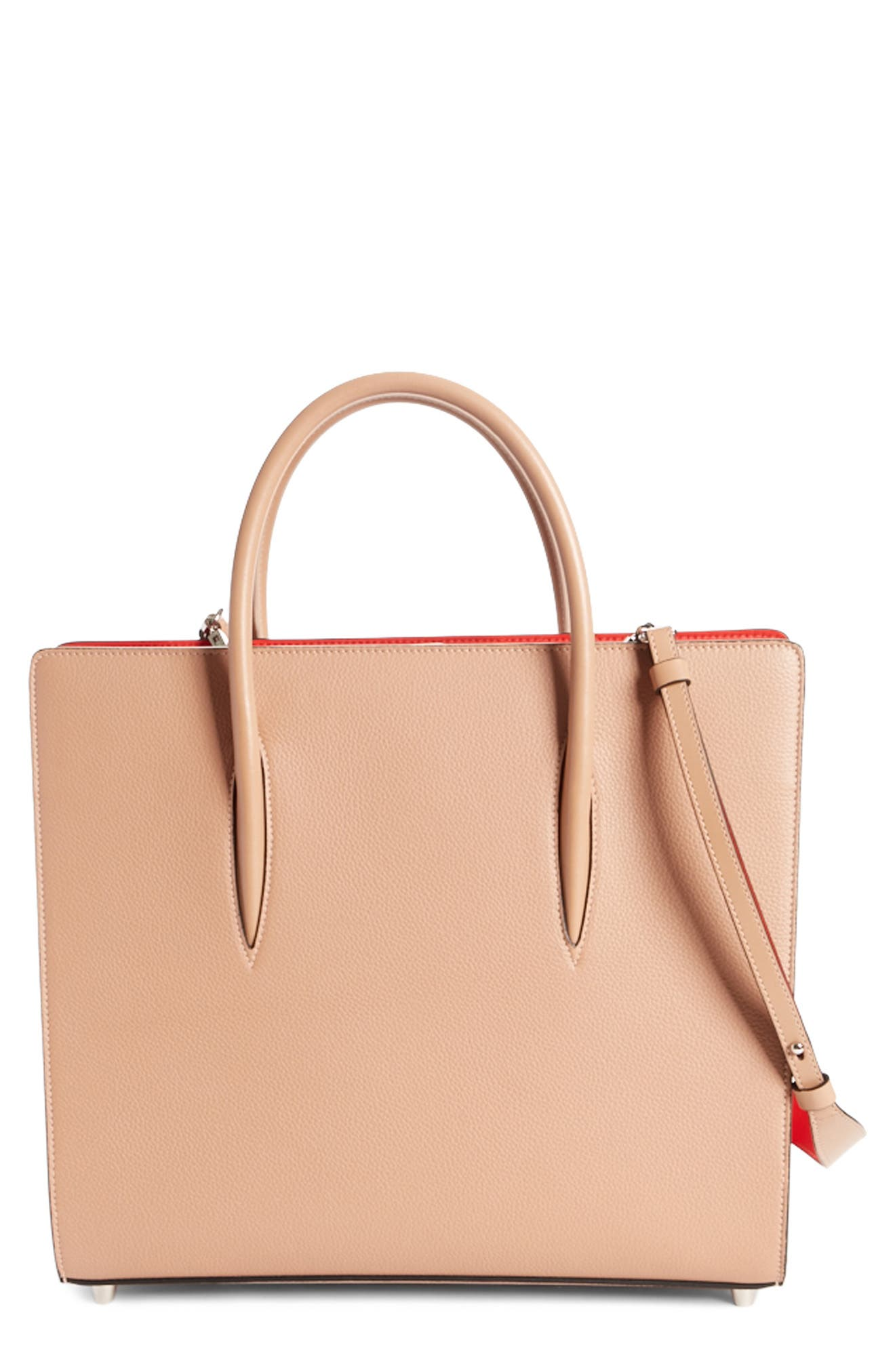 Large Paloma Leather Tote,                             Main thumbnail 1, color,                             Nude/ Nude