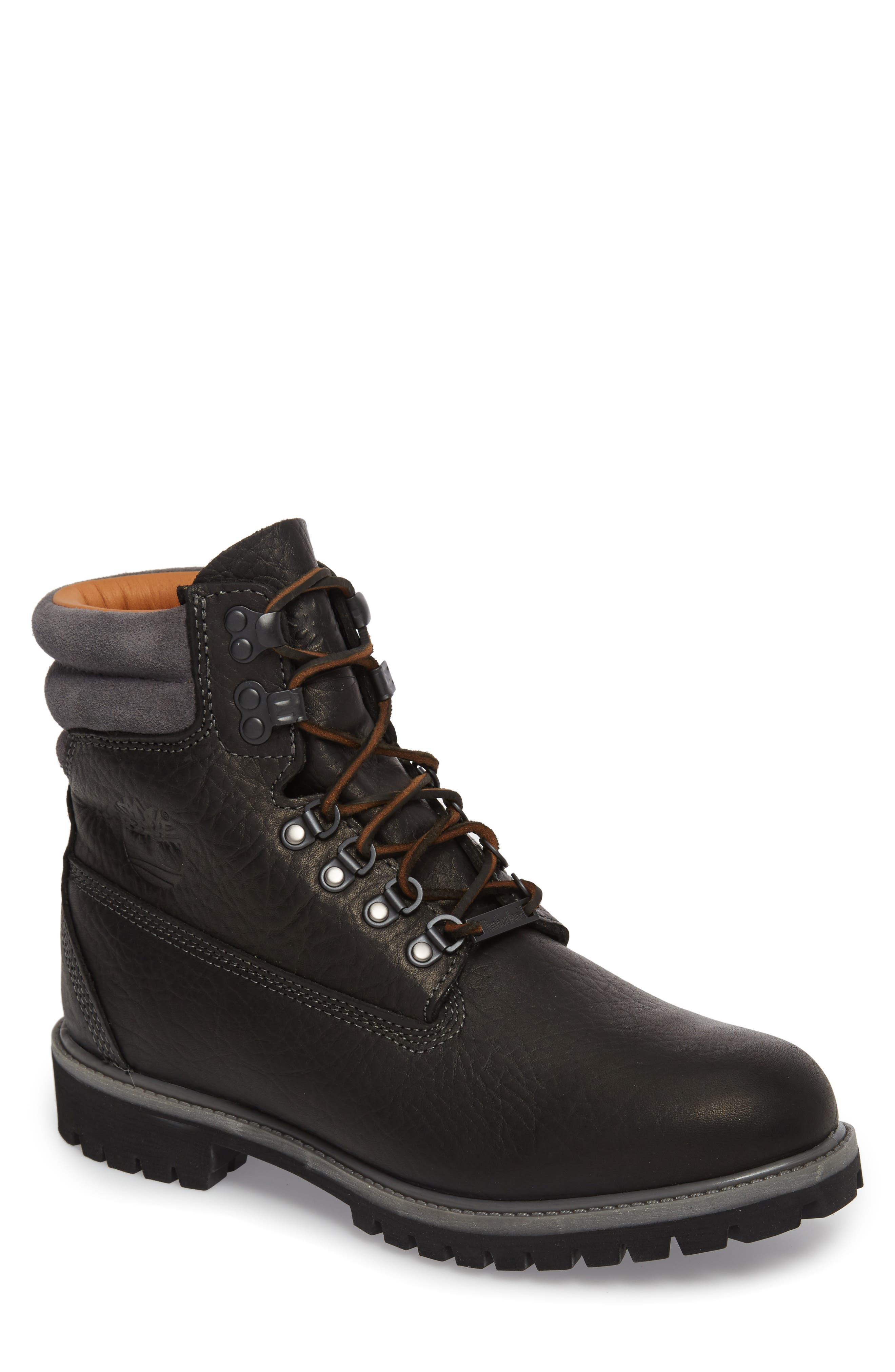 640 Below Plain Toe Boot,                             Main thumbnail 1, color,                             Black Highway Leather