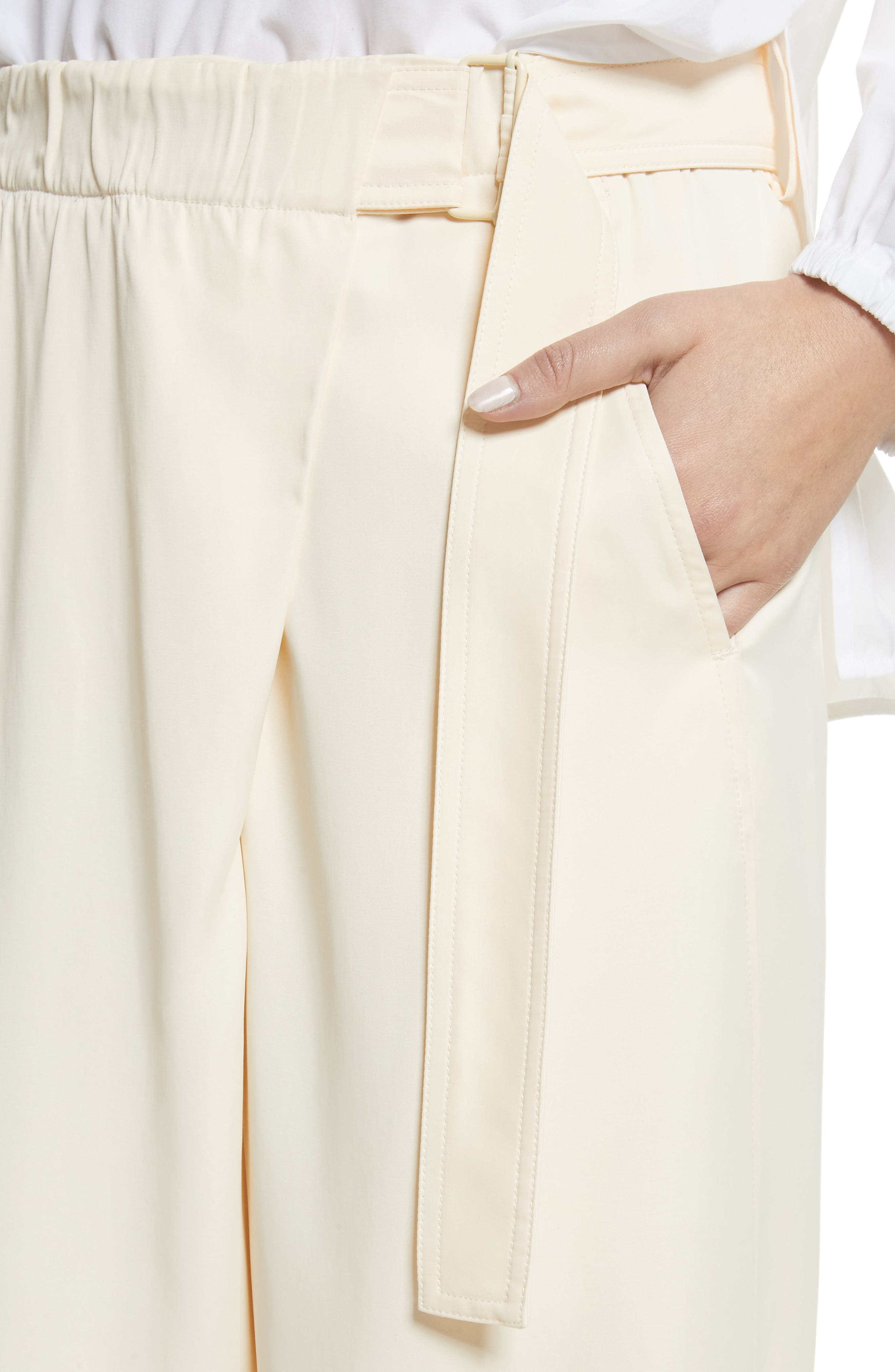 Belted Crossover Culottes,                             Alternate thumbnail 4, color,                             Buttercream