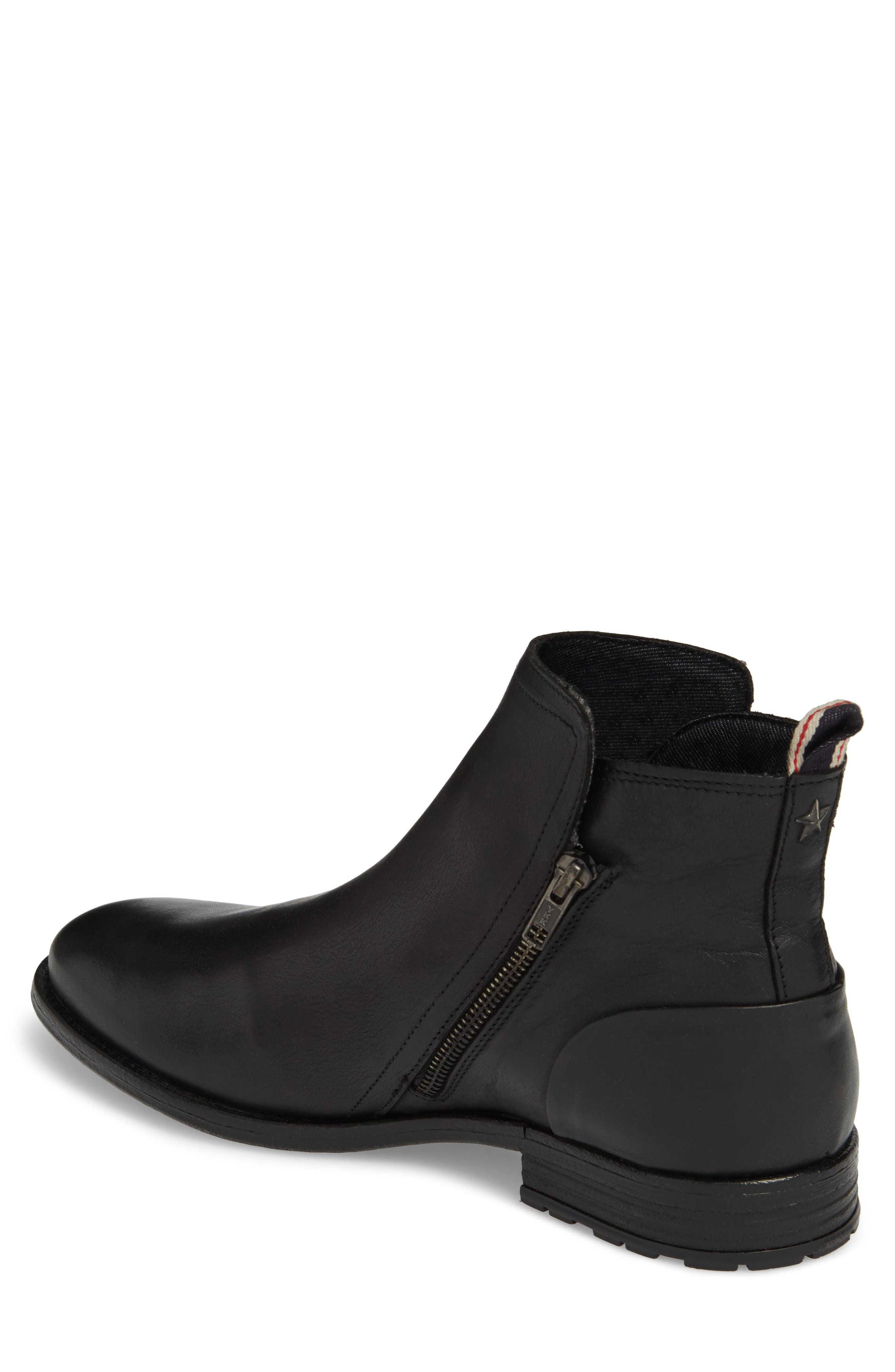Gerone Zip Boot,                             Alternate thumbnail 2, color,                             Black Leather Fabric