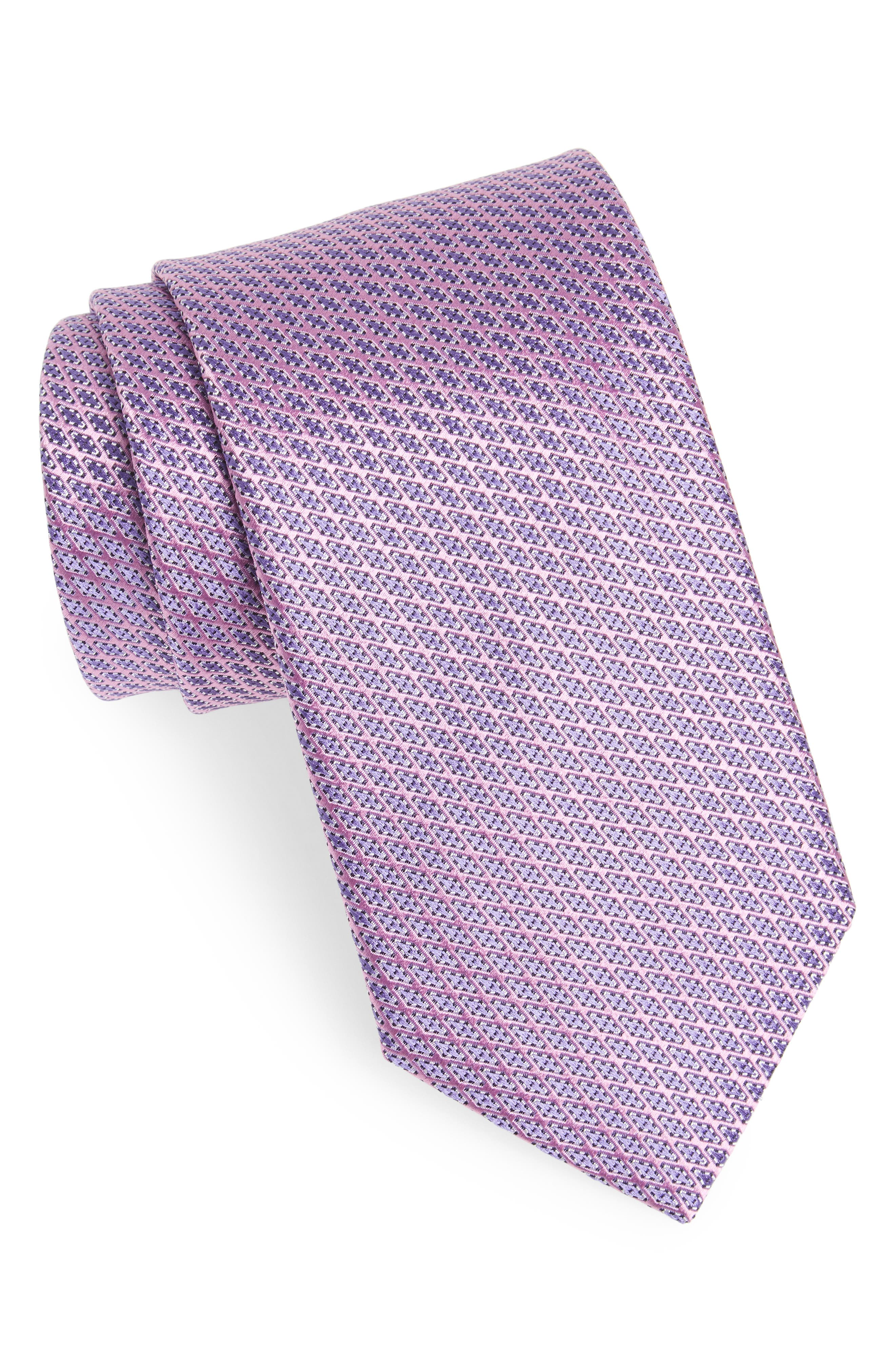 Neat Silk Tie,                             Main thumbnail 1, color,                             Pink