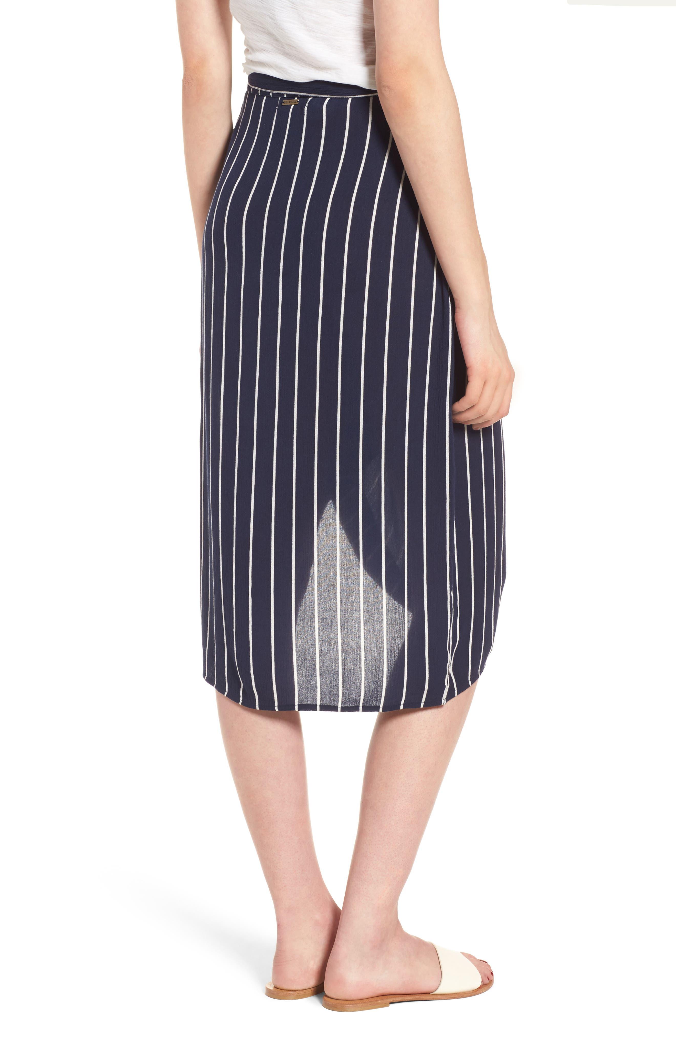 So Right Stripe Faux Wrap Skirt,                             Alternate thumbnail 3, color,                             Deep Sea