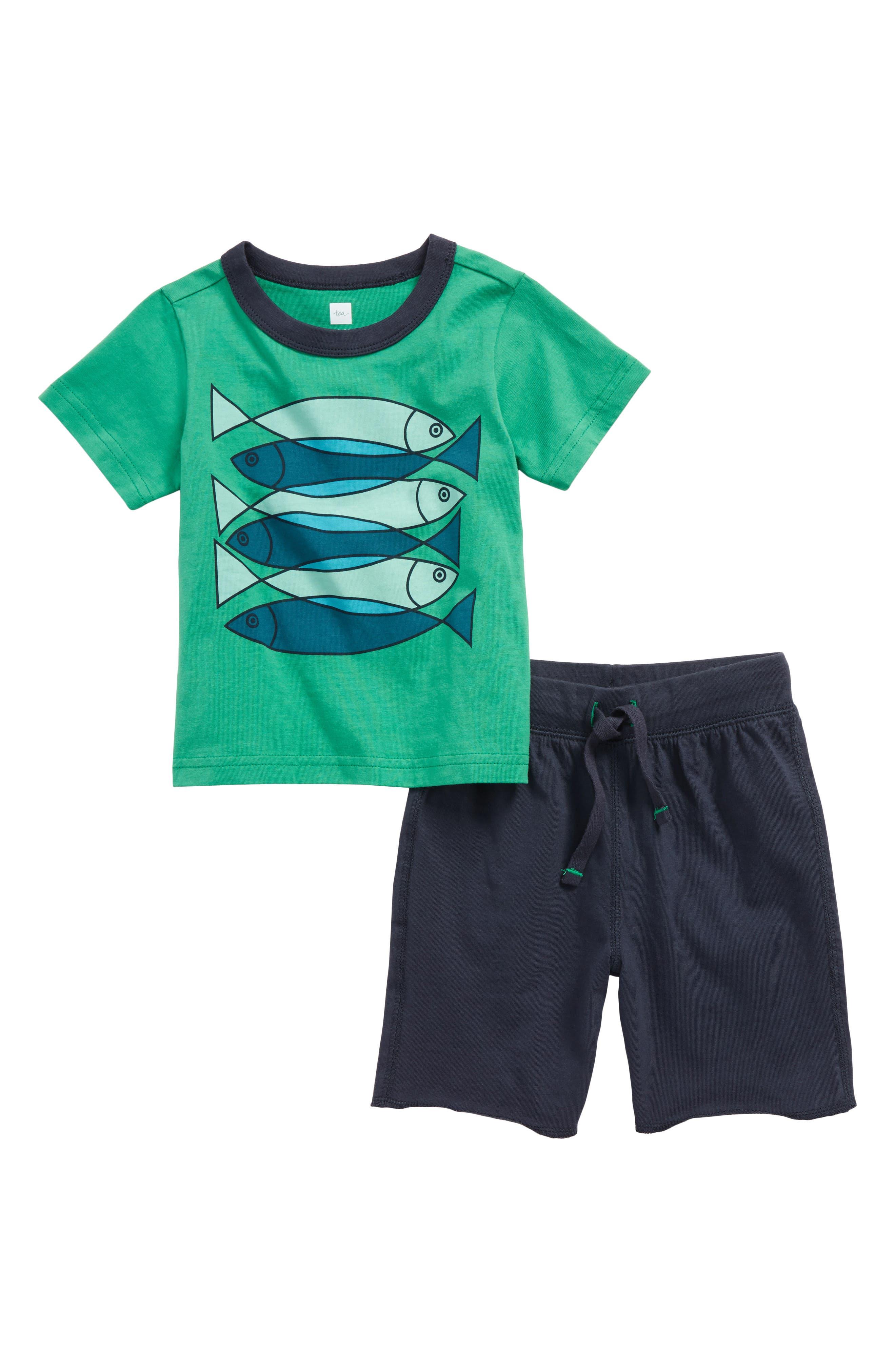 Tea Collection Fish School T-Shirt & Shorts Set (Baby Boys & Toddler Boys)