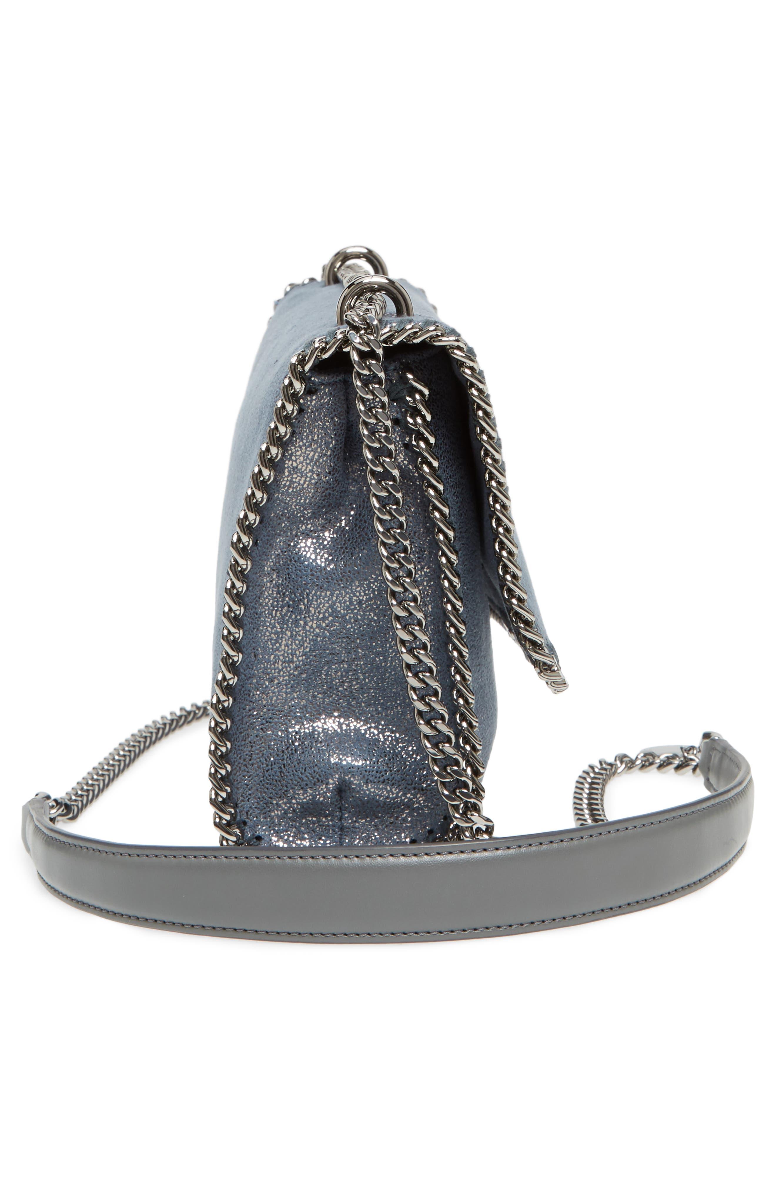 Falabella Metallic Faux Leather Convertible Shoulder Bag,                             Alternate thumbnail 5, color,                             Blue Lagoon