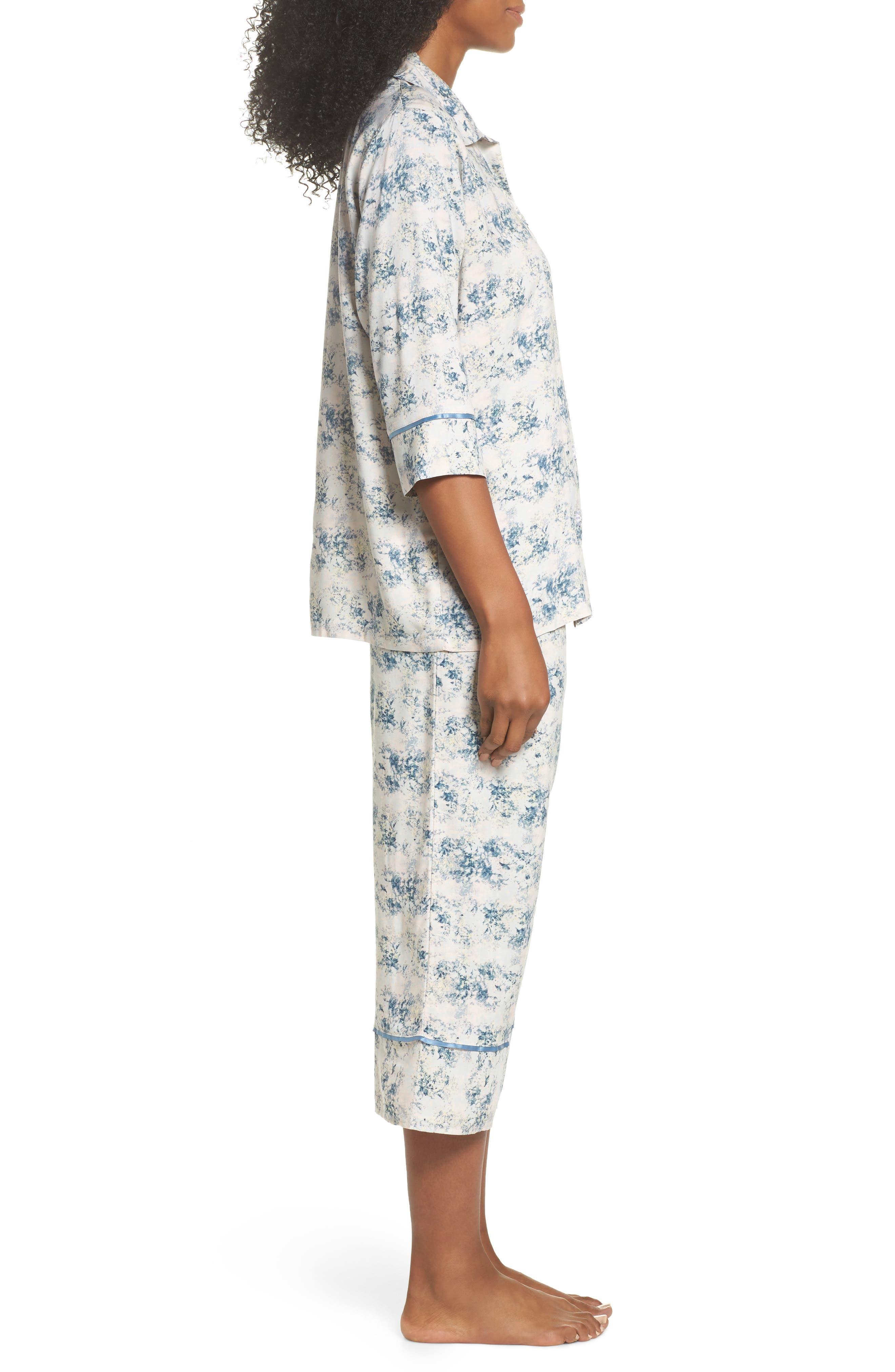 Floral Print Crop Pajamas,                             Alternate thumbnail 3, color,                             Blue