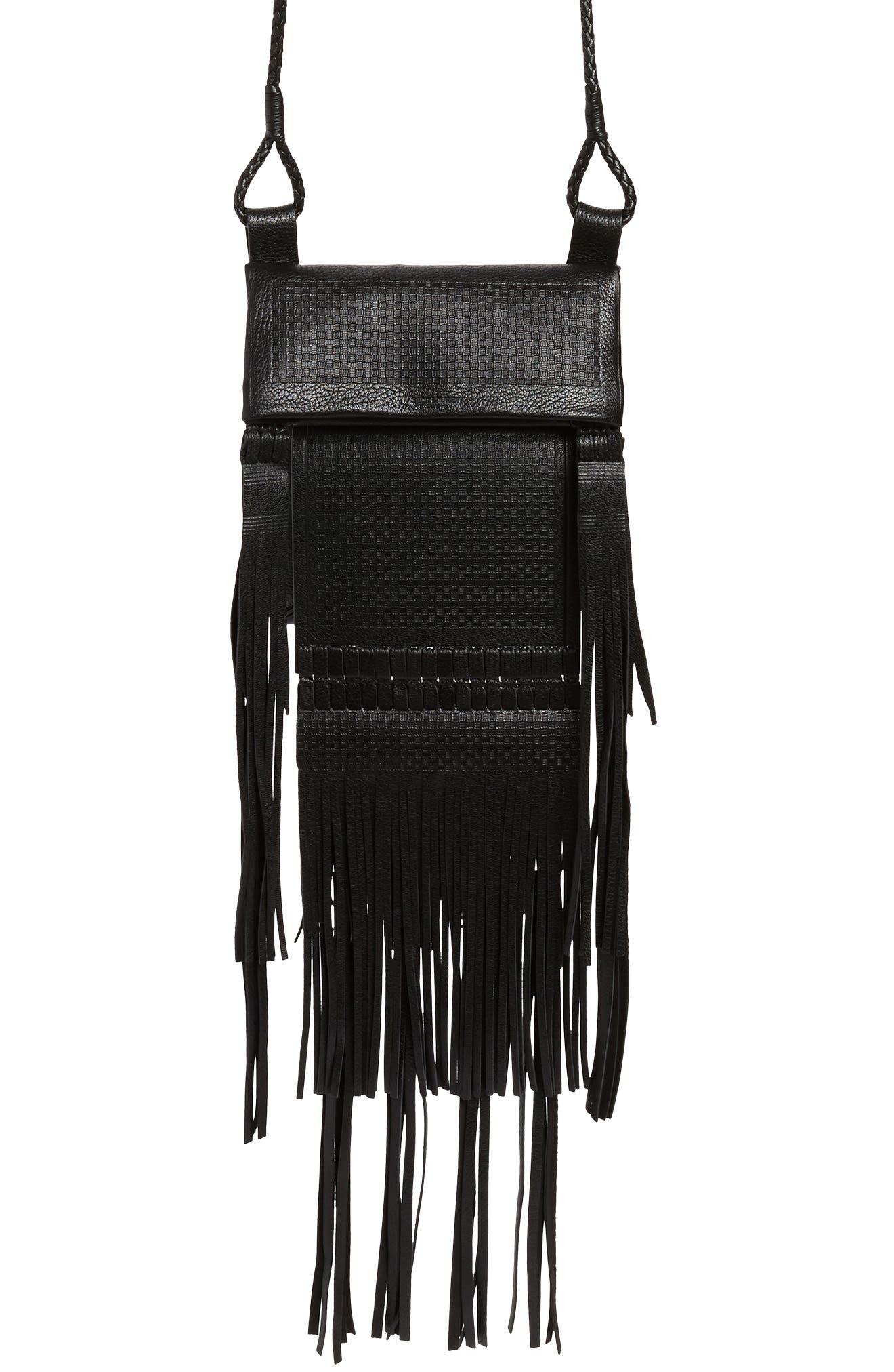 Saharienne Fringe Leather Crossbody Bag,                             Main thumbnail 1, color,                             Noir