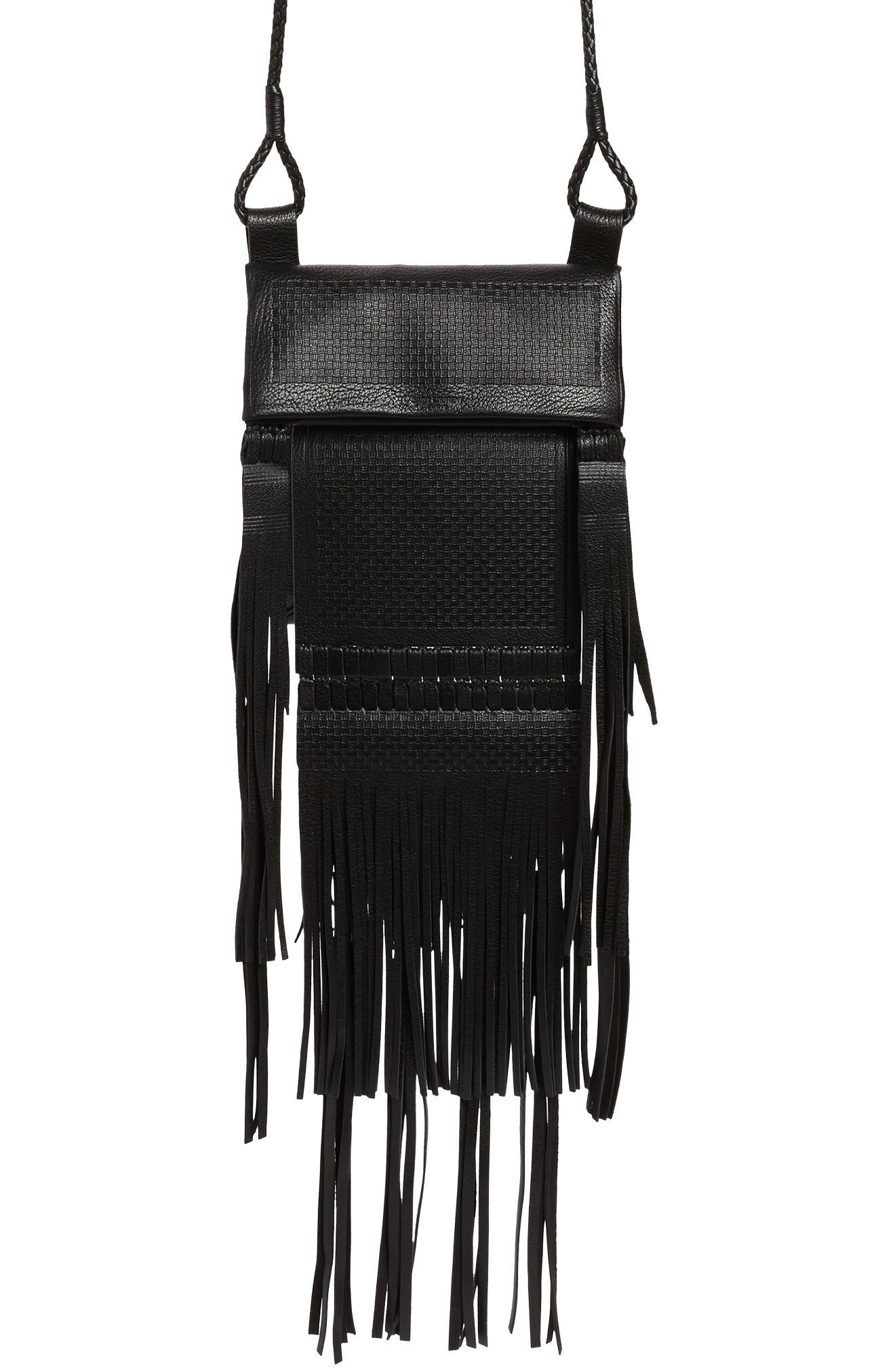 Saharienne Fringe Leather Crossbody Bag,                         Main,                         color, Noir