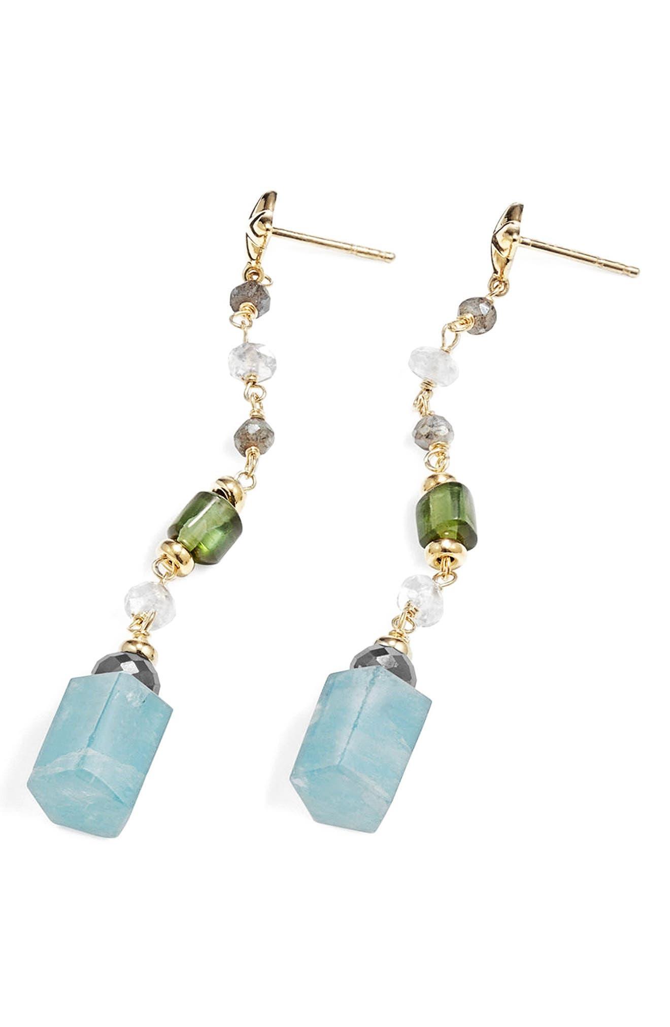 Bead & Chain Earrings with Semiprecious Stones,                             Alternate thumbnail 2, color,                             Aquamarine