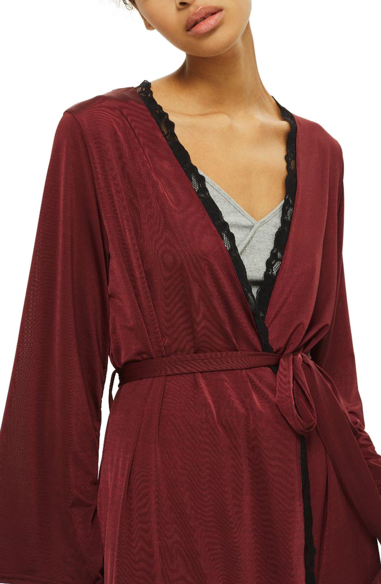Satin Jersey Robe,                             Alternate thumbnail 3, color,                             Berry Multi