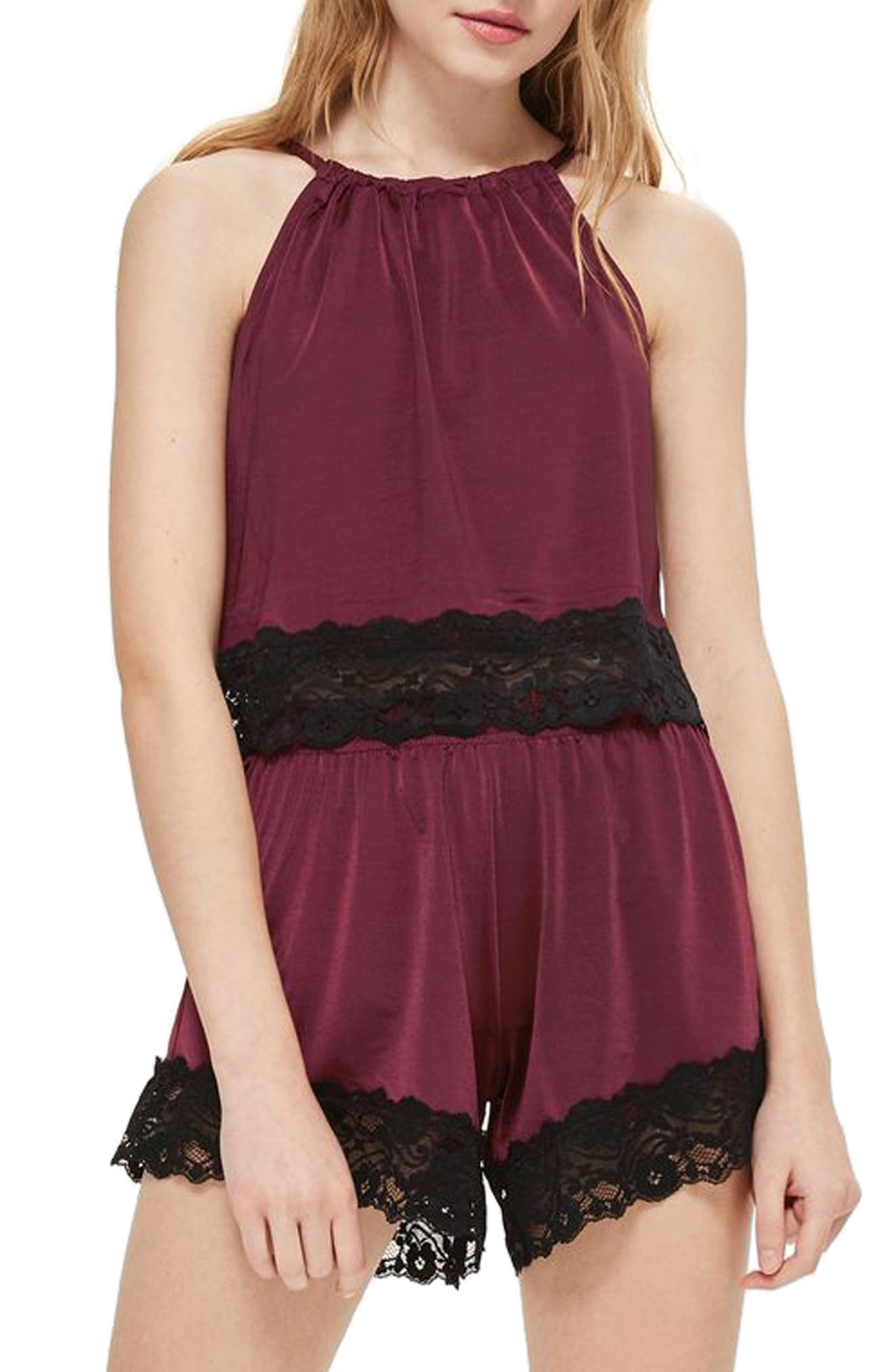 Satin & Lace Camisole,                             Main thumbnail 1, color,                             Berry Multi