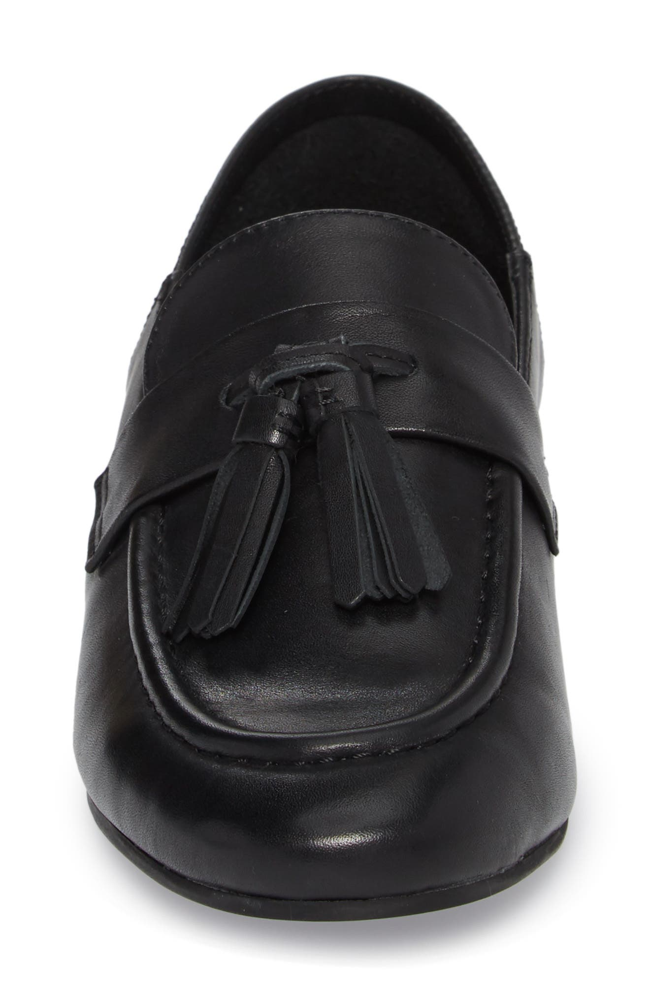 Beck Convertible Tasseled Loafer,                             Alternate thumbnail 5, color,                             Black Leather