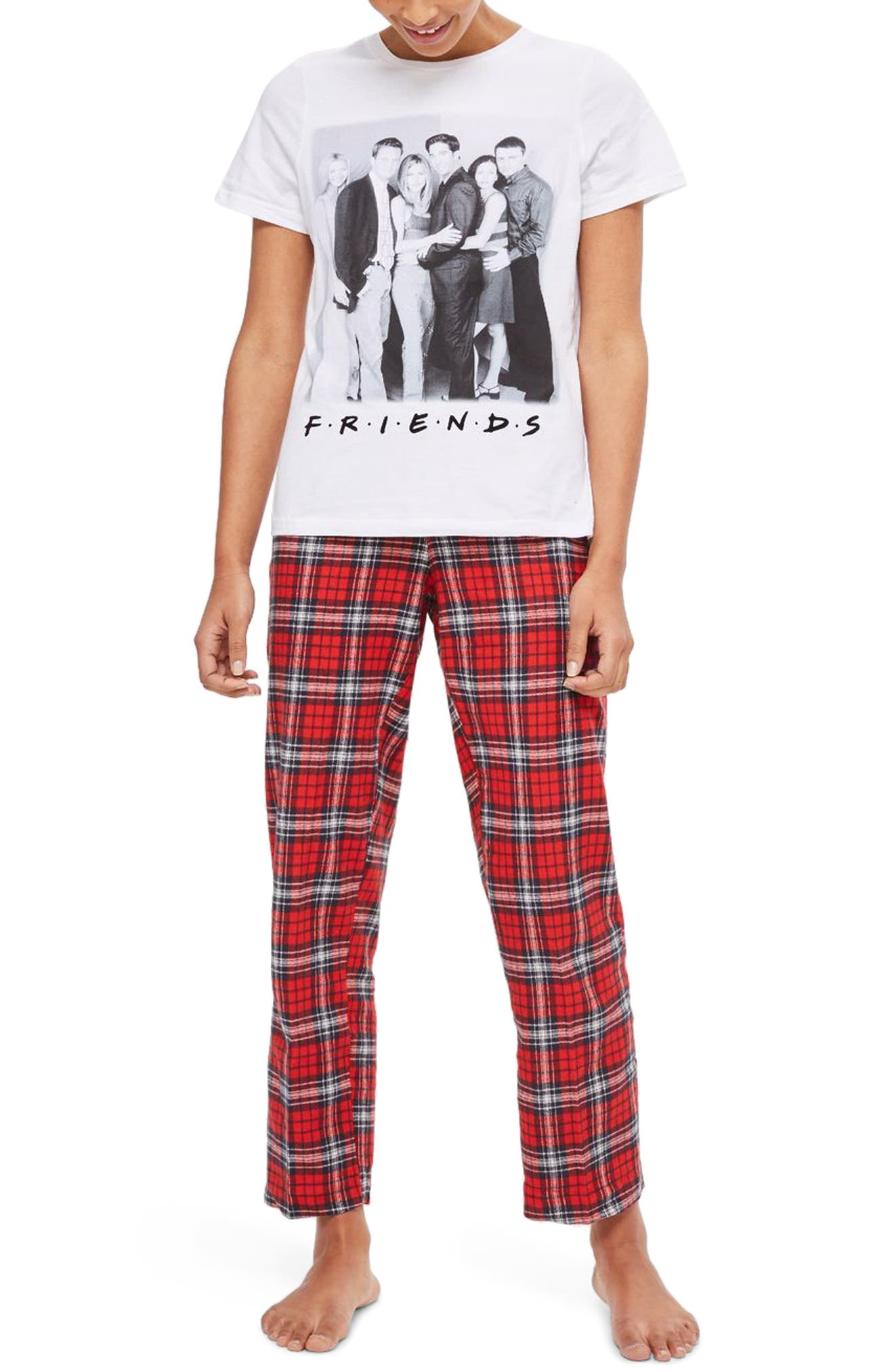Friends Long Checkered Pajamas,                             Main thumbnail 1, color,                             Red Multi