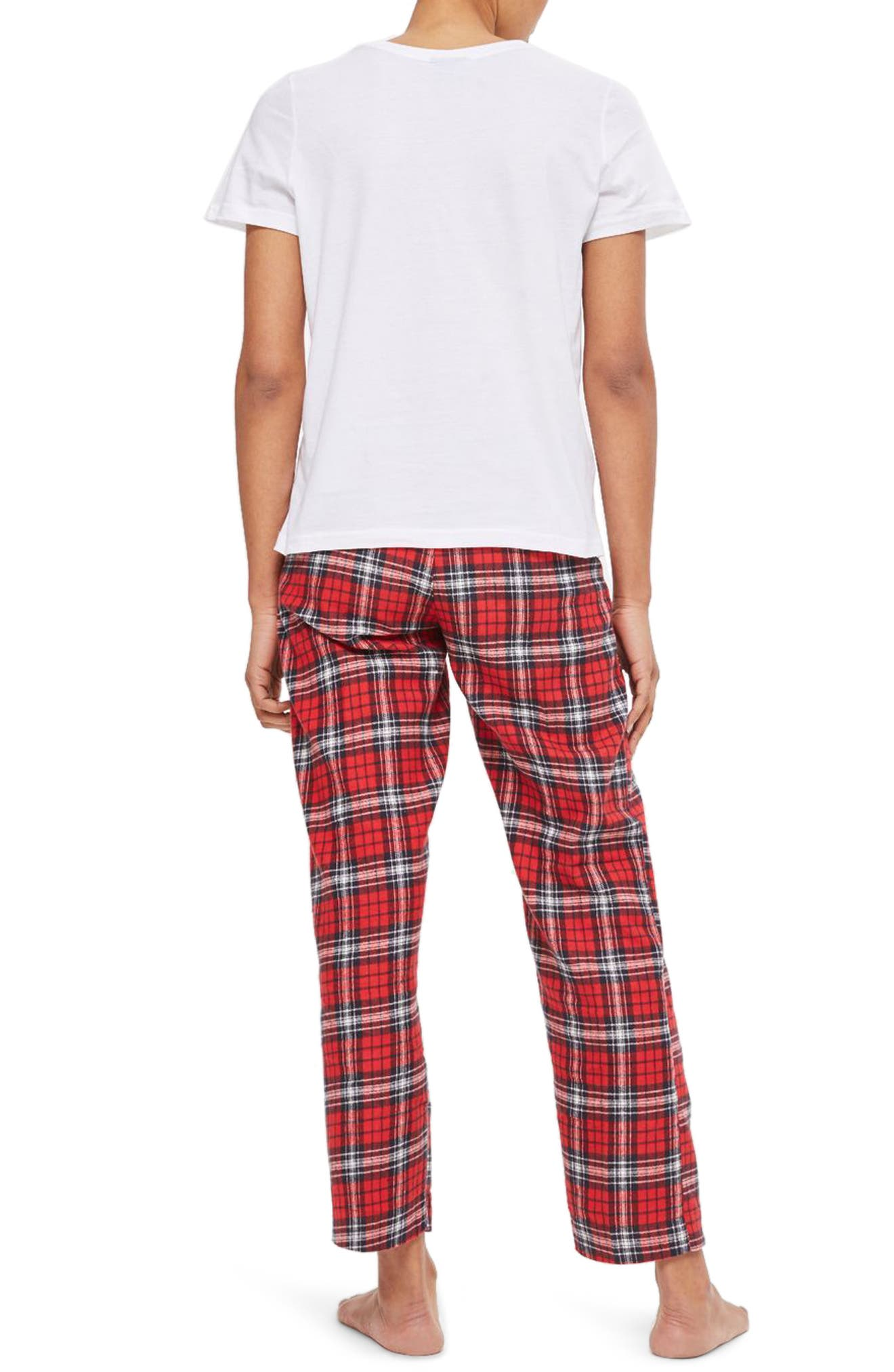 Friends Long Checkered Pajamas,                             Alternate thumbnail 2, color,                             Red Multi
