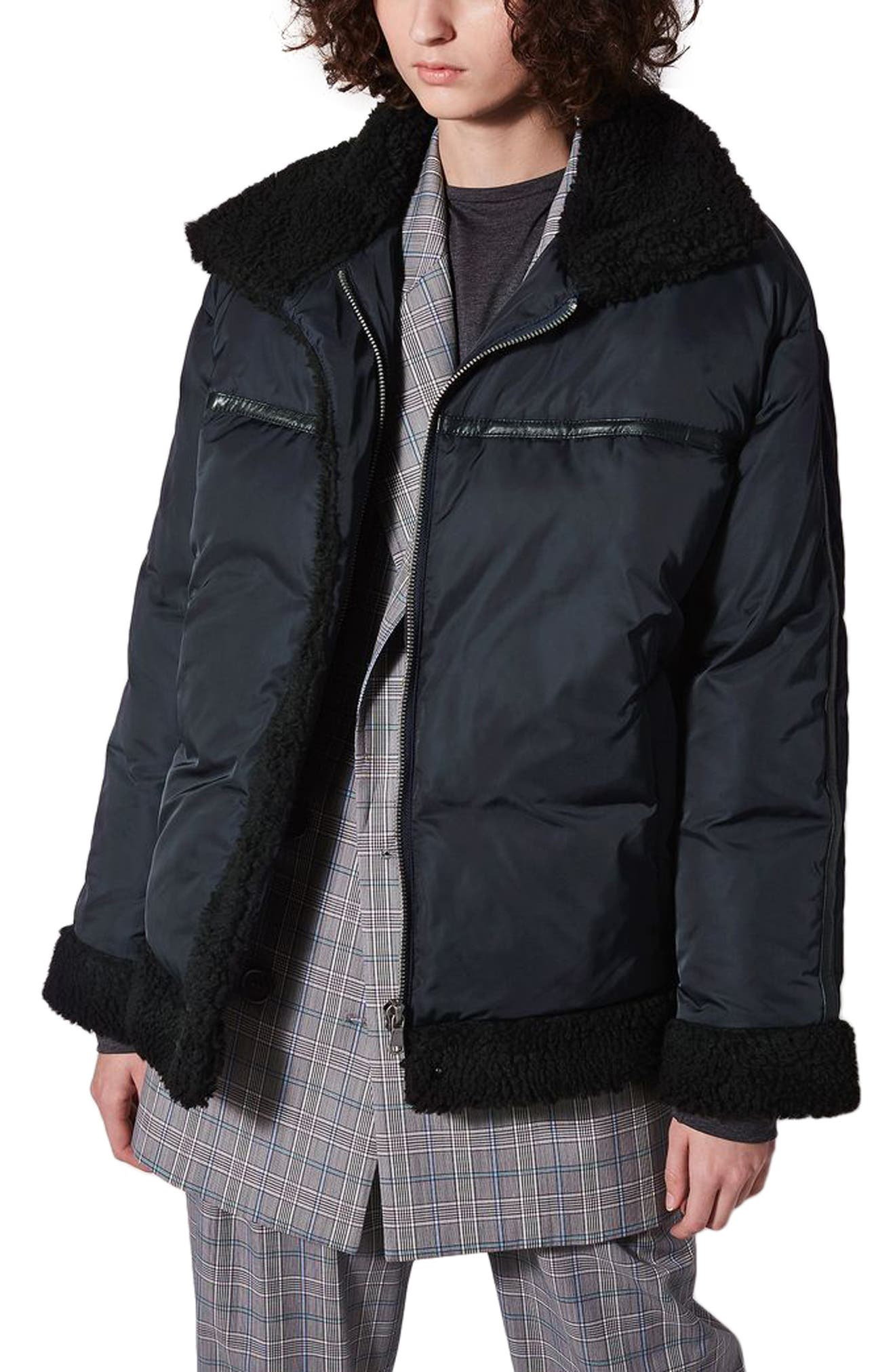 Topshop Boutique Fleece Lined Puffer Jacket