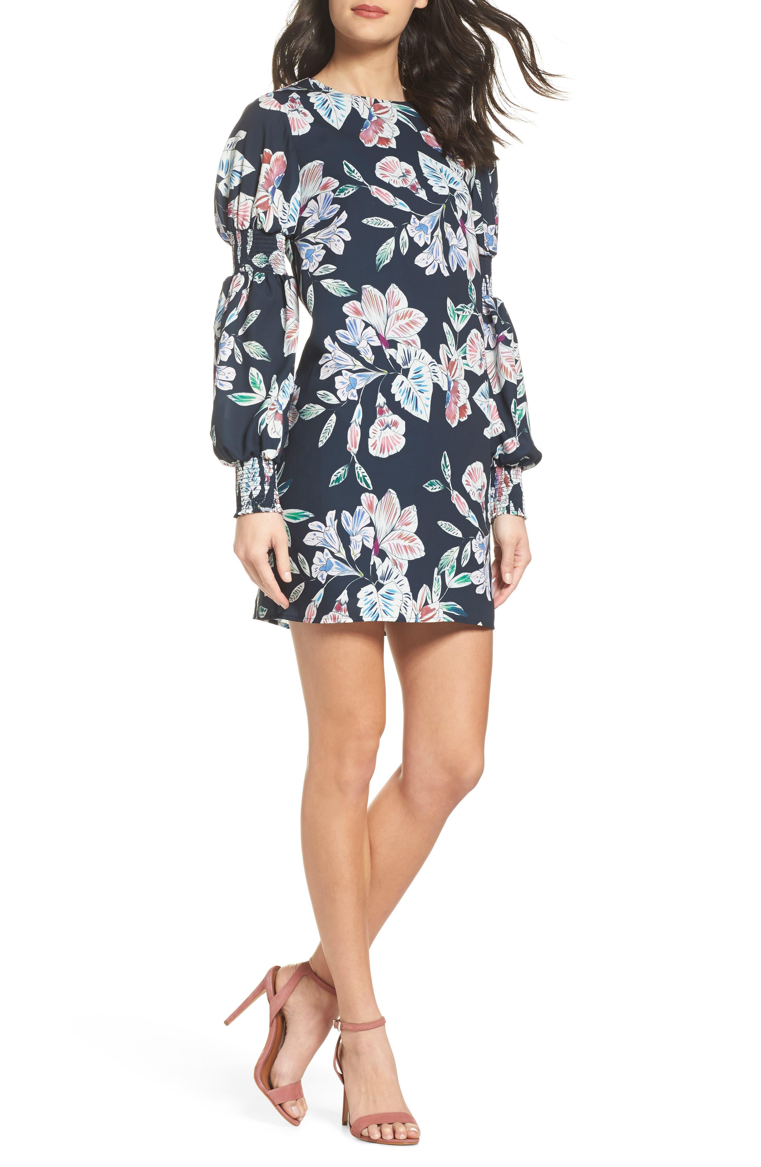 Main Image - Cooper St Phantom Floral Smocked Sleeve Dress