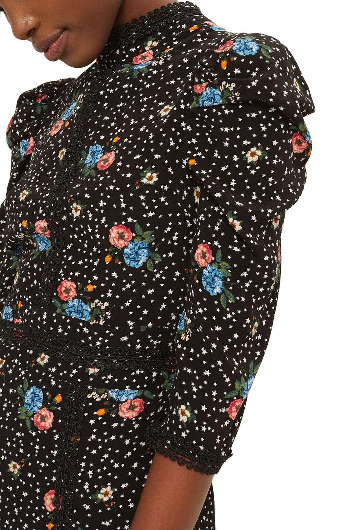 Lace-Up Back Floral Dress,                             Alternate thumbnail 3, color,                             Black Multi
