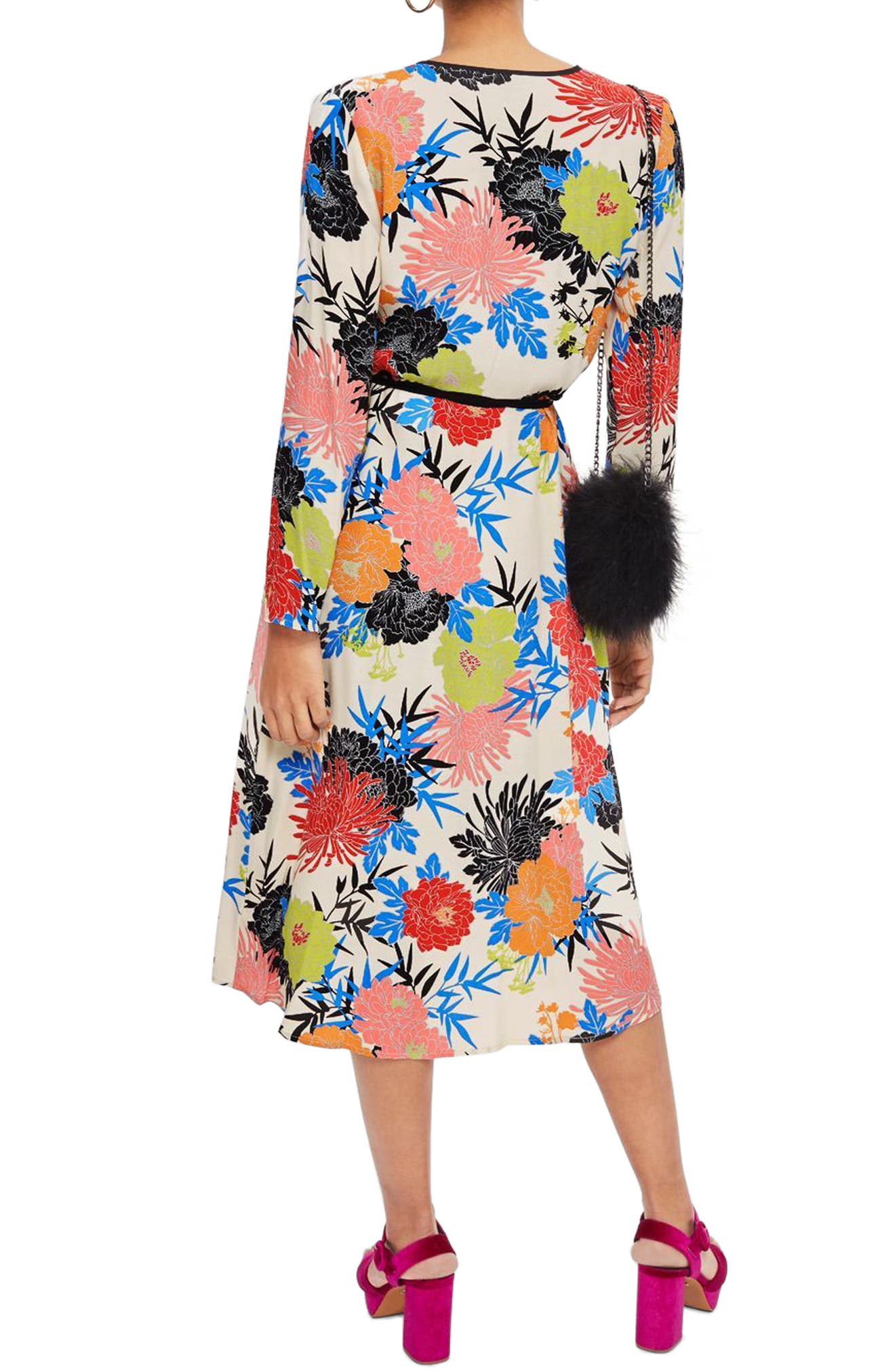 Freya Floral Wrap Dress,                             Alternate thumbnail 2, color,                             Ivory Multi